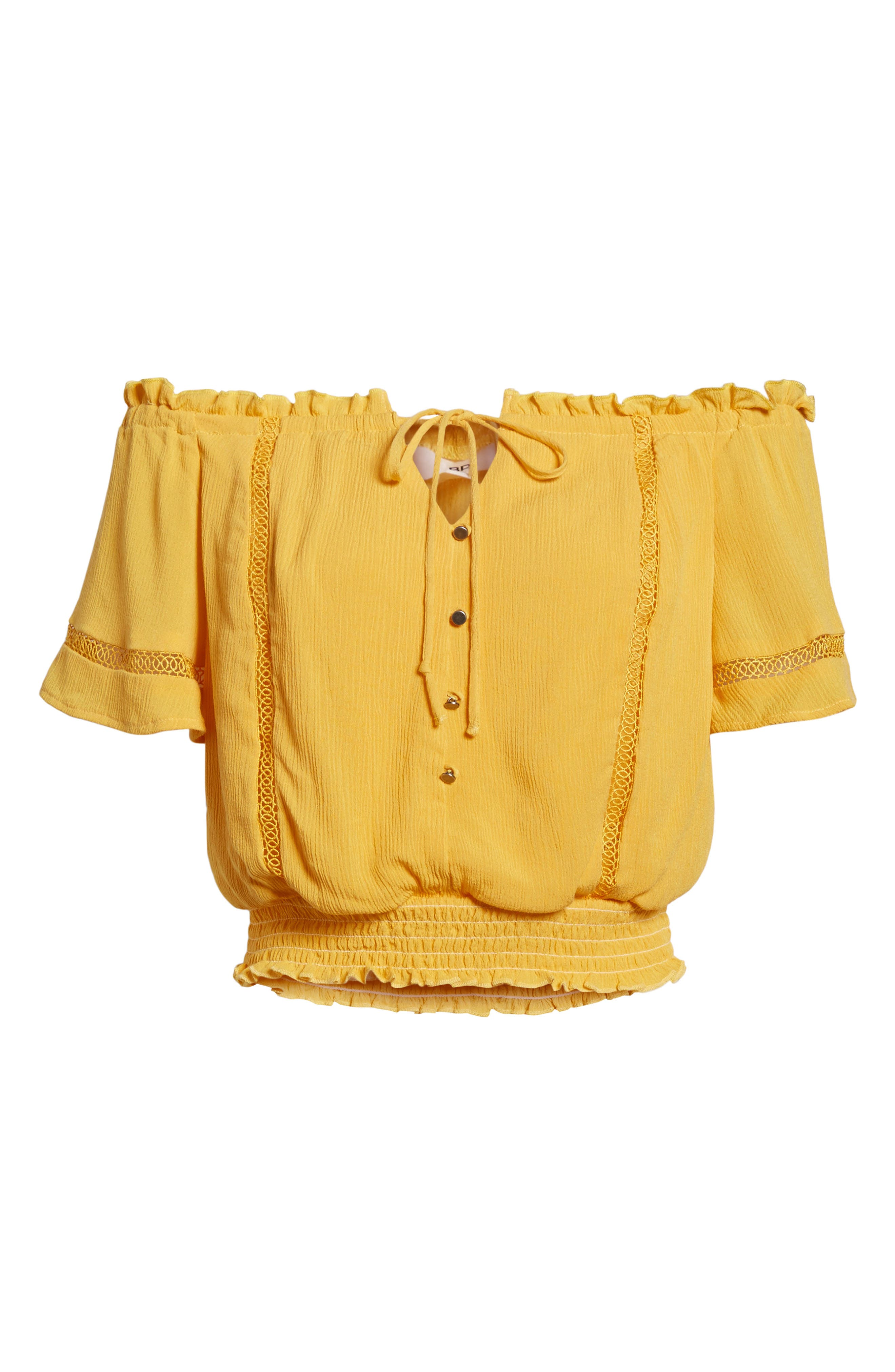 Off the Shoulder Crop Top,                             Alternate thumbnail 7, color,                             Yellow Sulphur