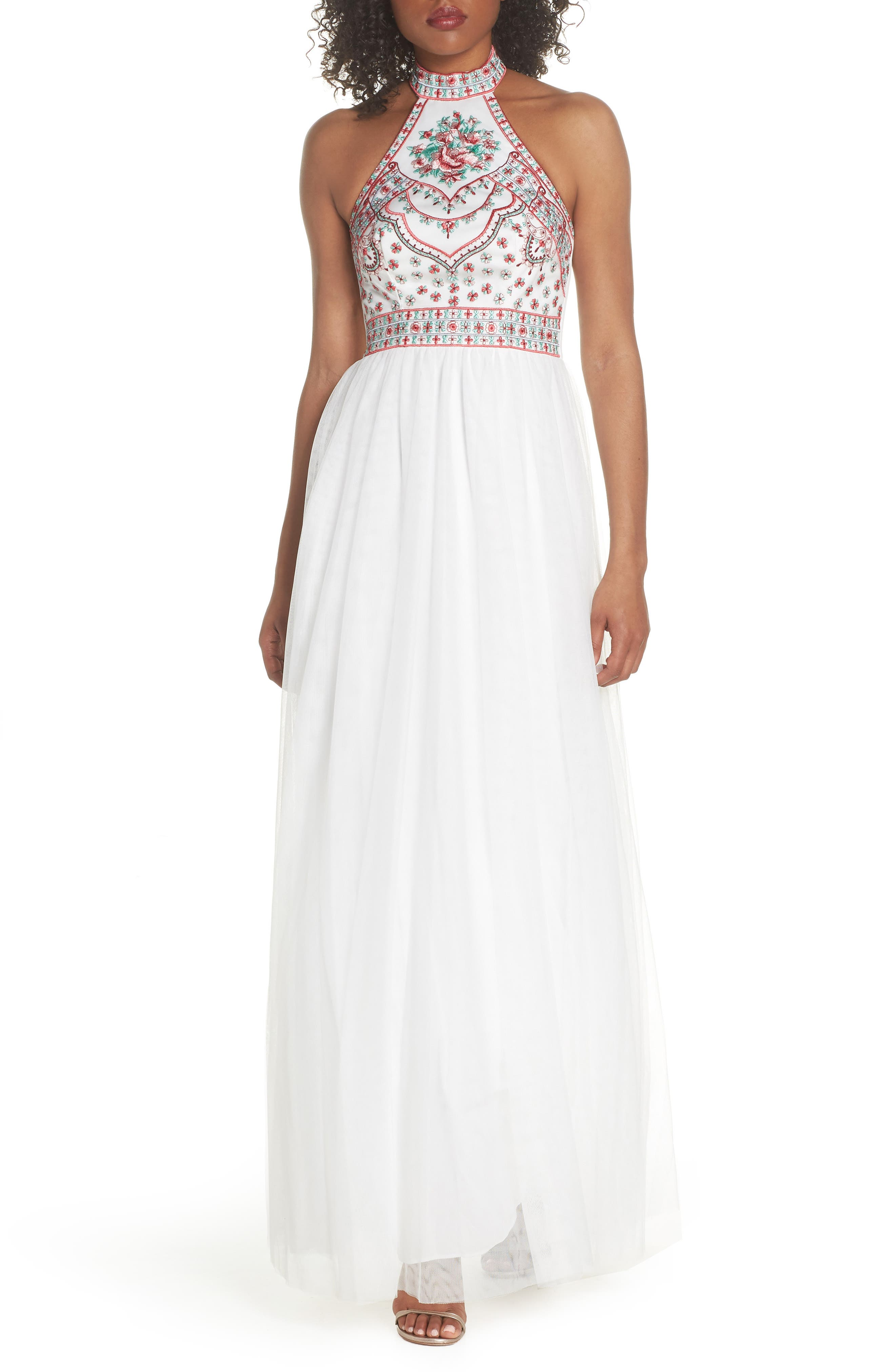 Embroidered Halter Gown,                         Main,                         color, Ivory/ Multi