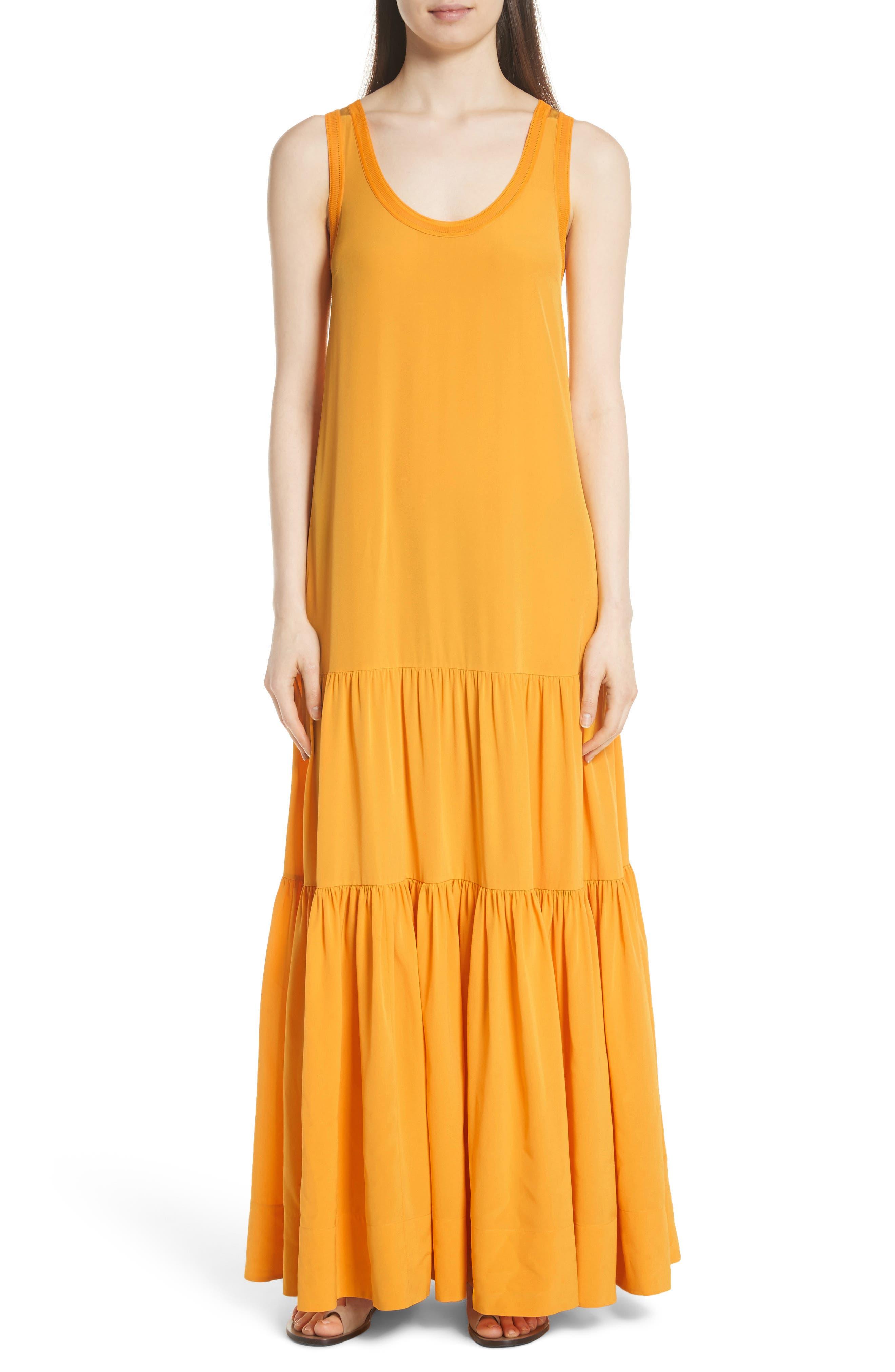 Hazel Silk Tank Dress,                         Main,                         color, Saffron
