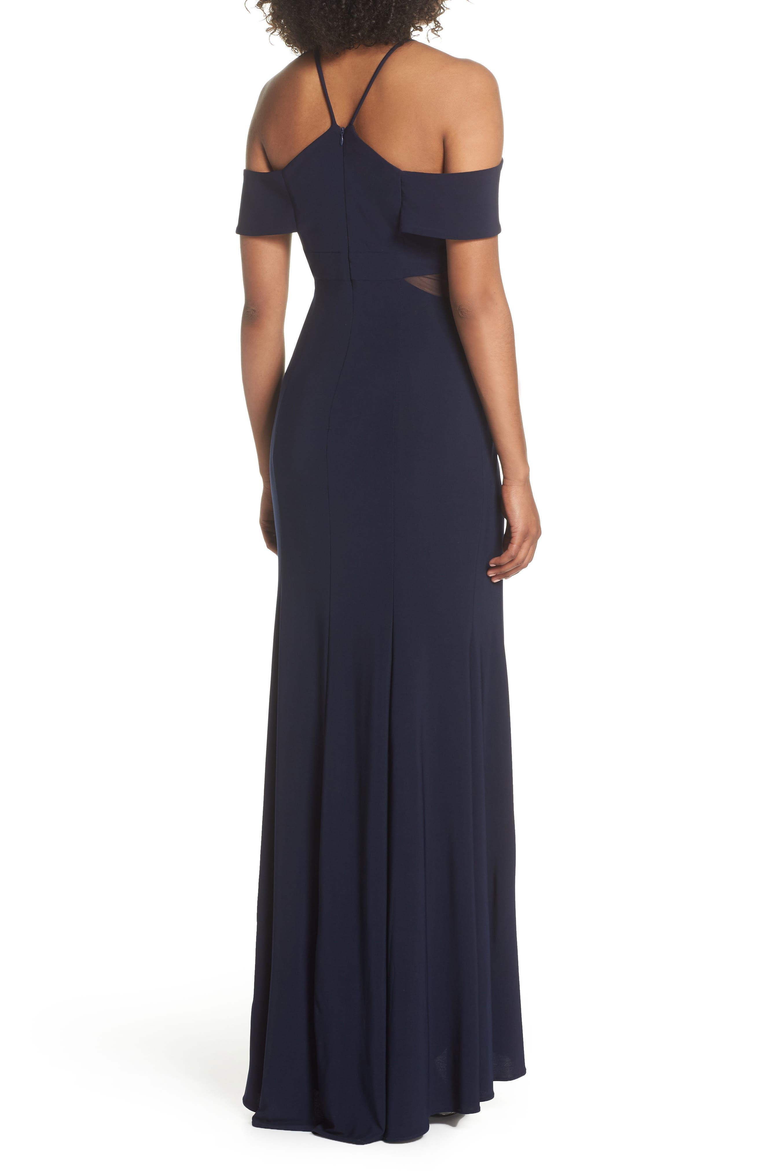 Cold Shoulder Gown,                             Alternate thumbnail 2, color,                             Navy