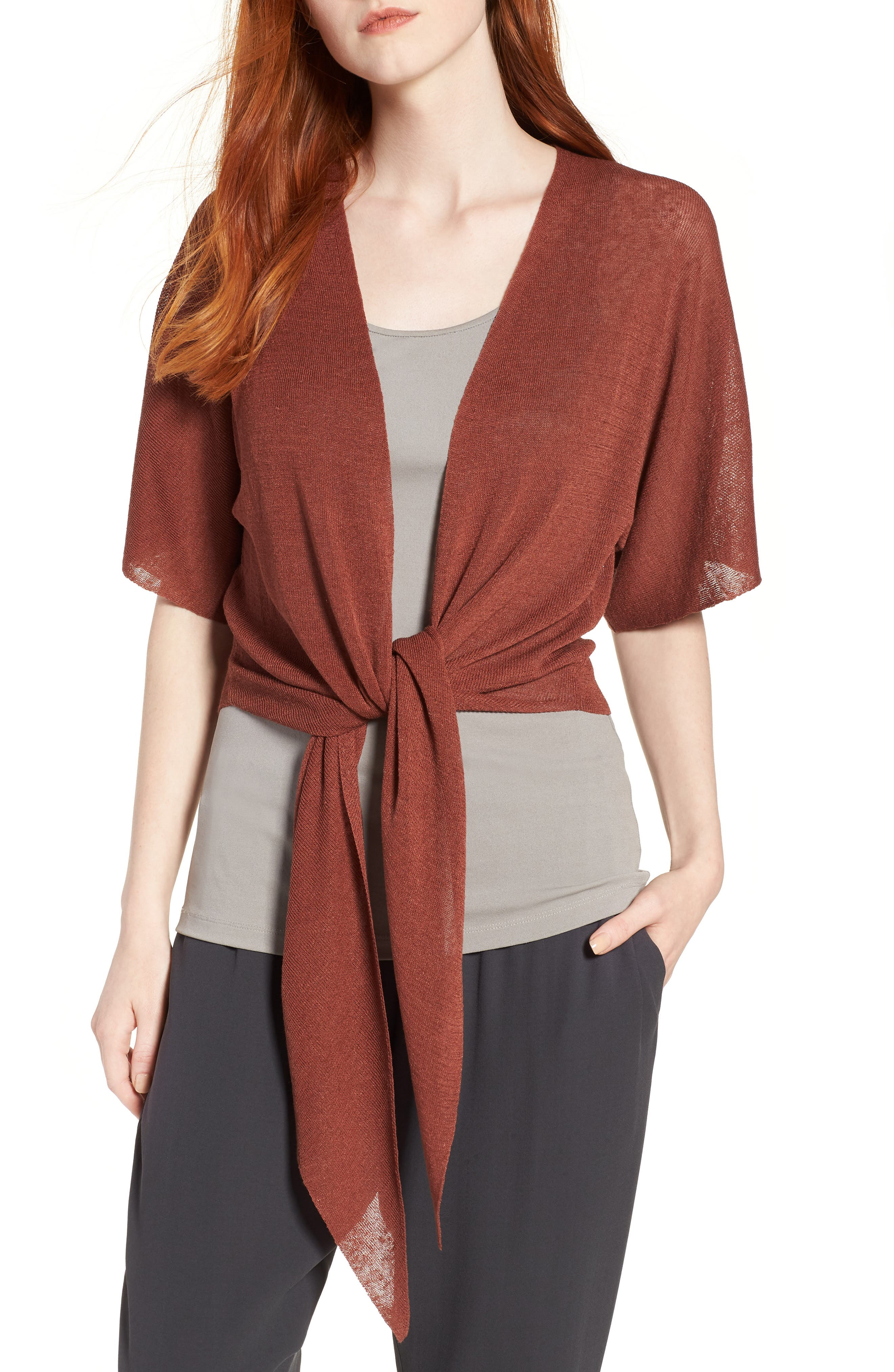 Tie Front Organic Linen Blend Cardigan,                         Main,                         color, Russet