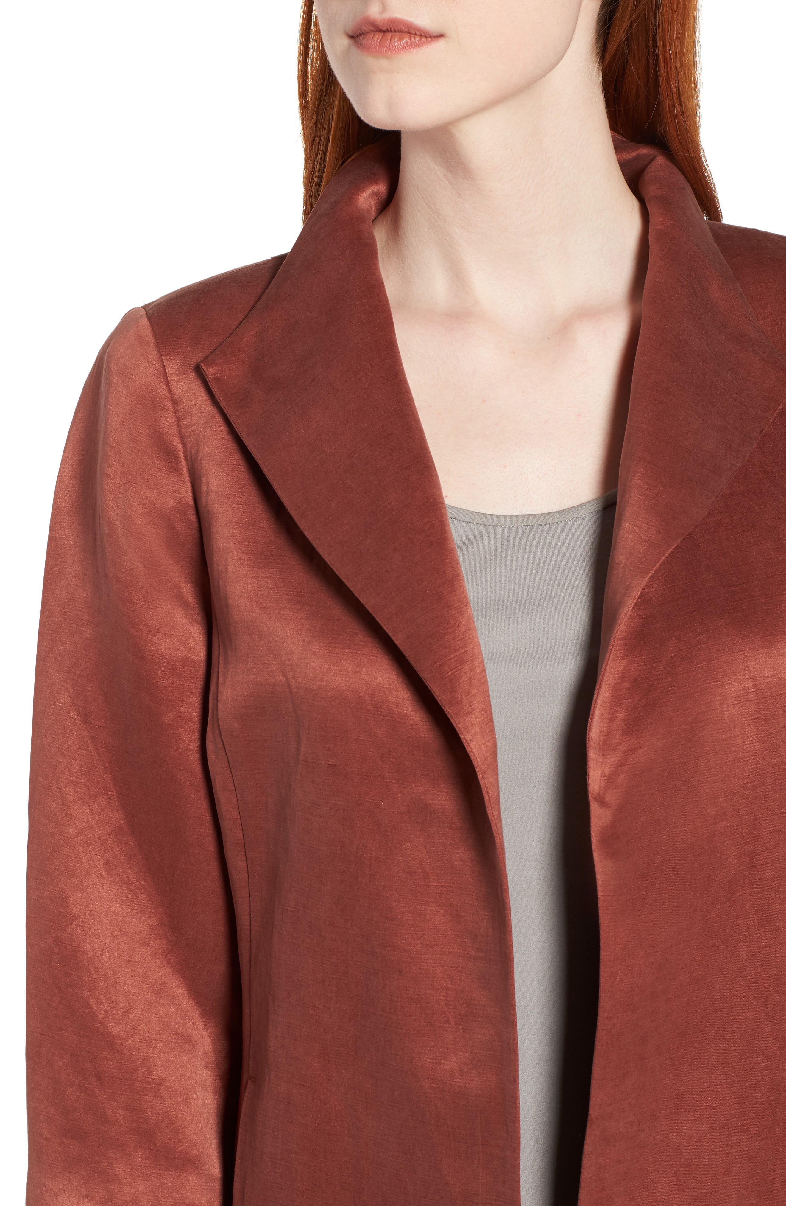 High Collar Long Jacket,                             Alternate thumbnail 4, color,                             Russet