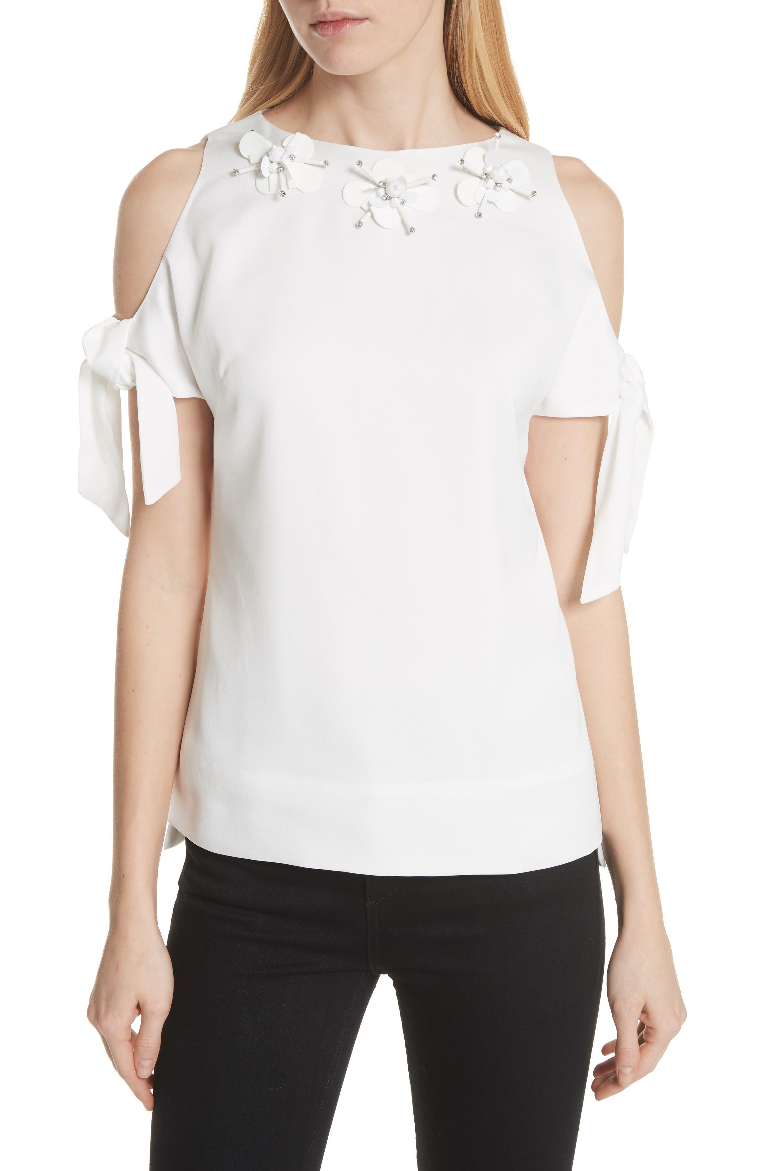 Embellished Neck Cold Shoulder Top,                         Main,                         color, White