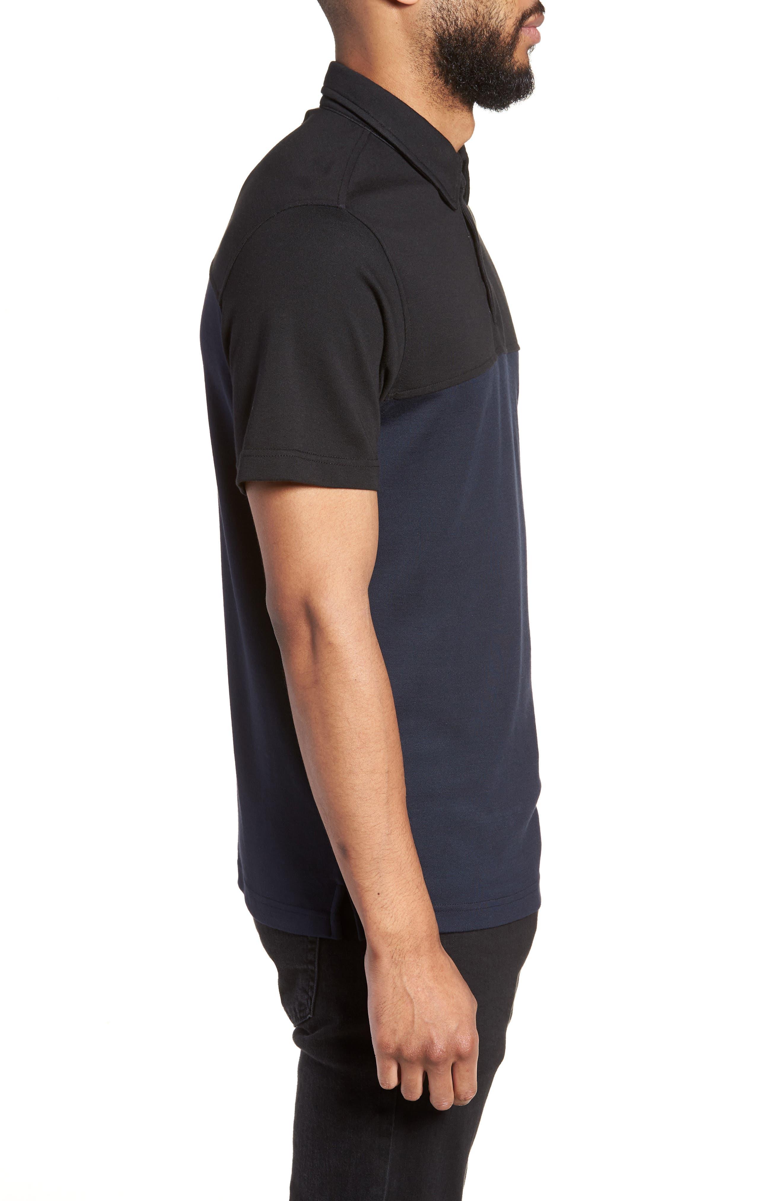 Trim Fit Colorblock Short Sleeve Polo,                             Alternate thumbnail 3, color,                             Navy Black