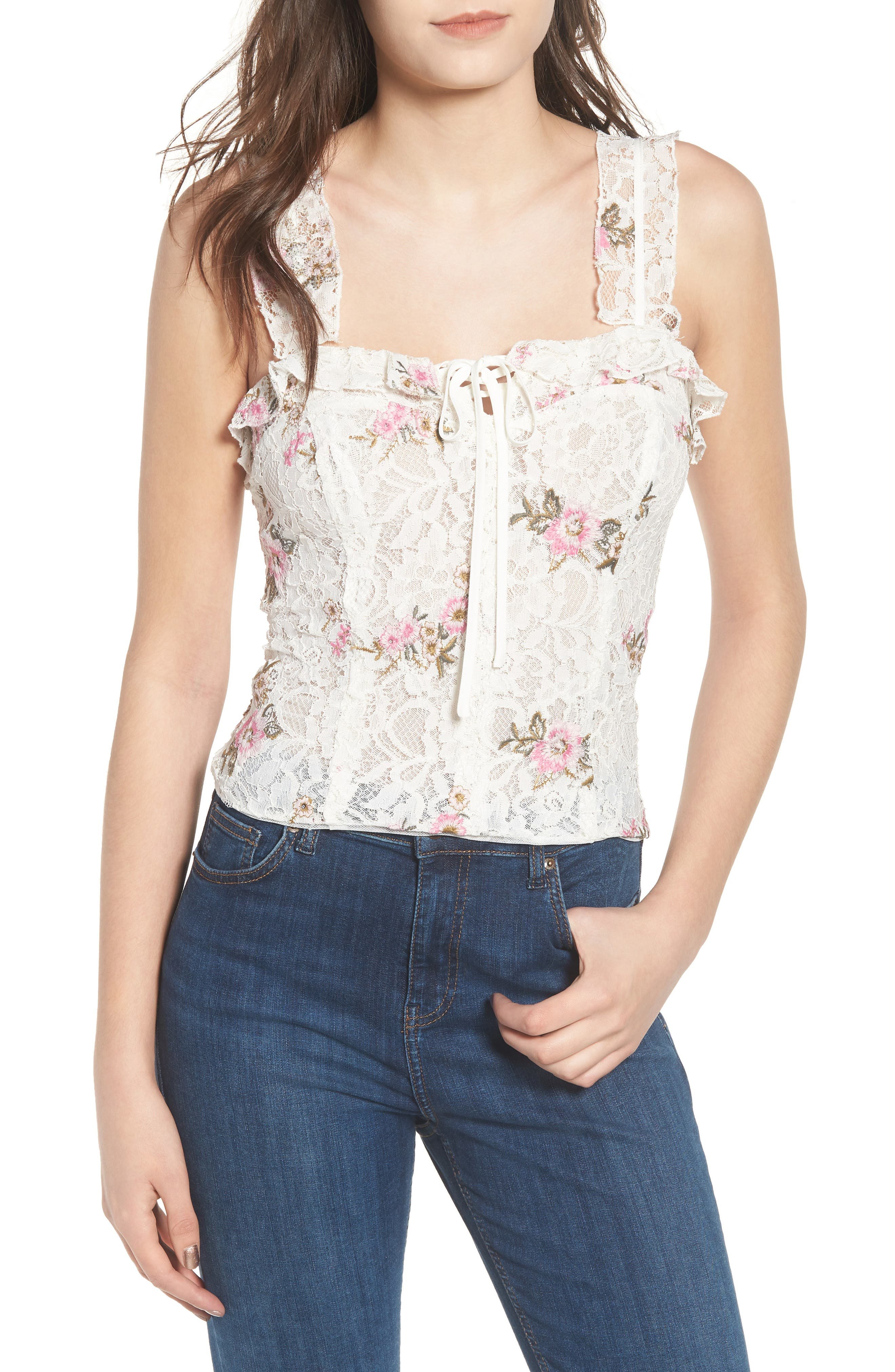 Acerra Lace-Up Lace Top,                             Main thumbnail 1, color,                             Ivory Embroidered Lace