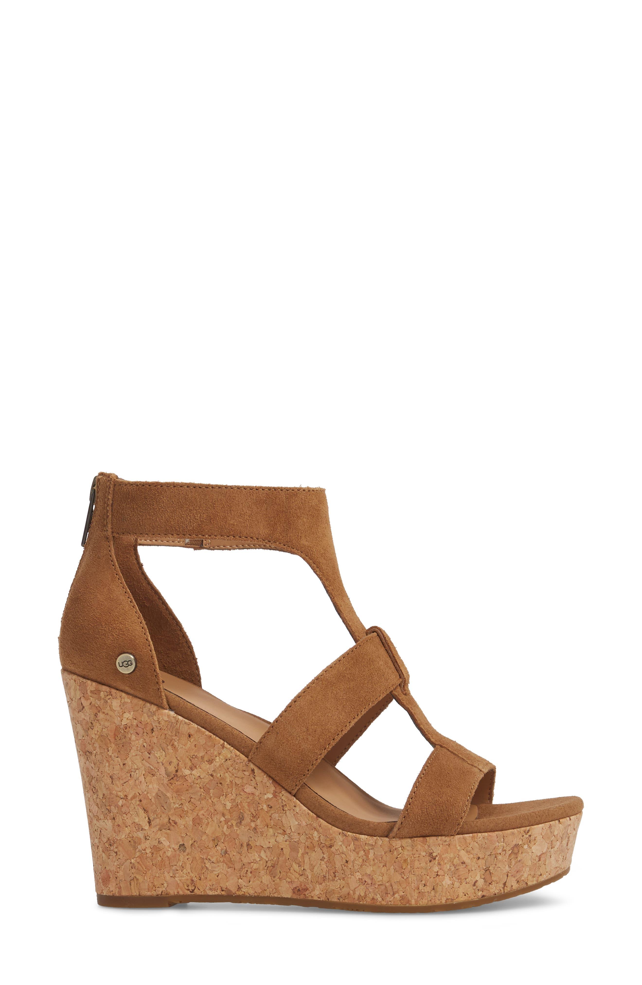 Whitney Platform Wedge Sandal,                             Alternate thumbnail 3, color,                             Chestnut