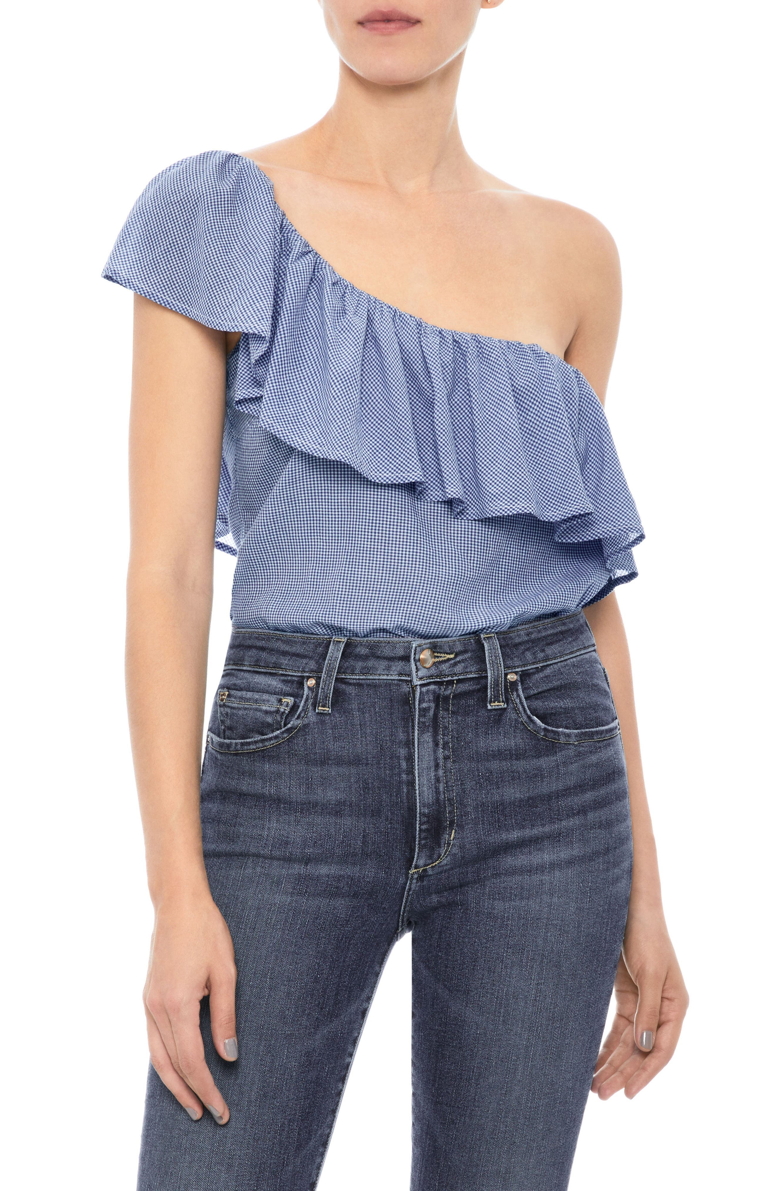 Gabby Ruffle One-Shoulder Top,                         Main,                         color, Blue / White