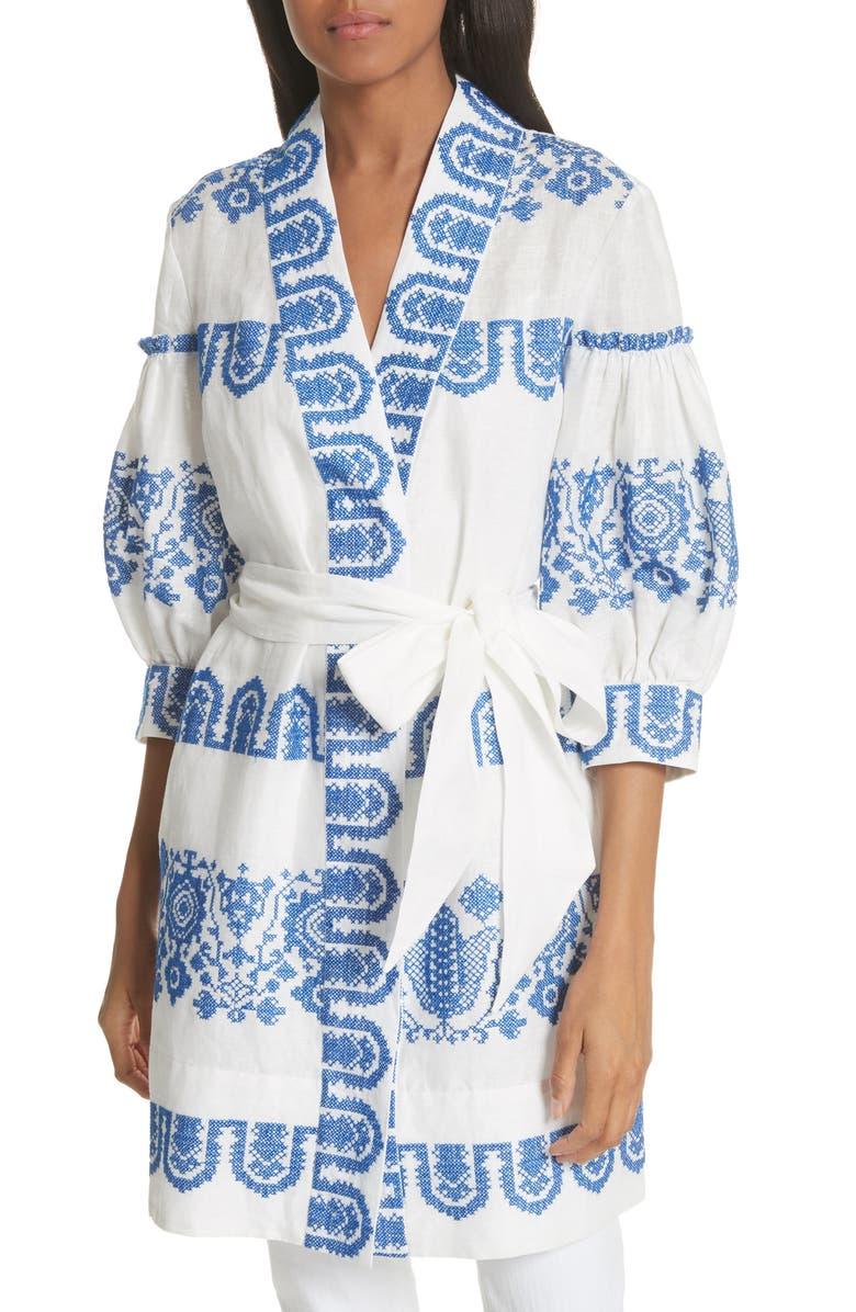 Mykonos Embroidered Tie Waist Linen Dress