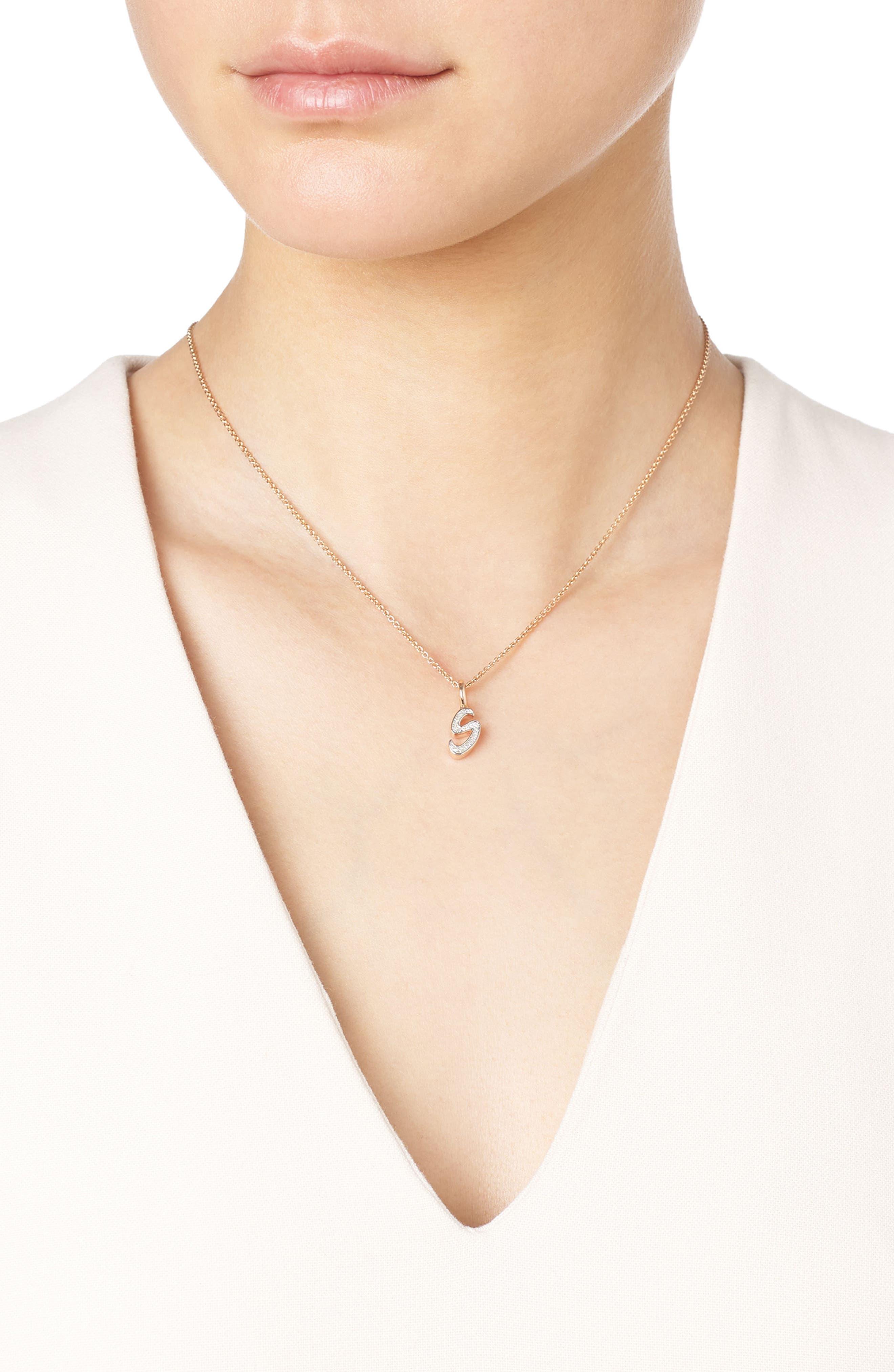 Diamond Initial Pendant,                             Alternate thumbnail 2, color,                             Rose Gold/ Diamond- S