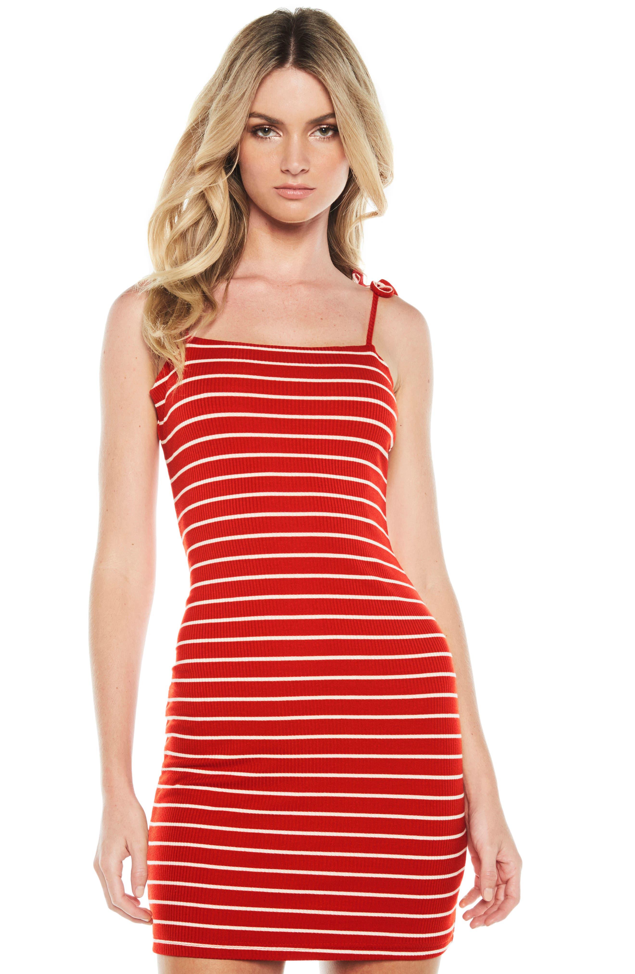 Romy Tie Strap Tube Dress,                             Alternate thumbnail 5, color,                             Red/ White Stripe