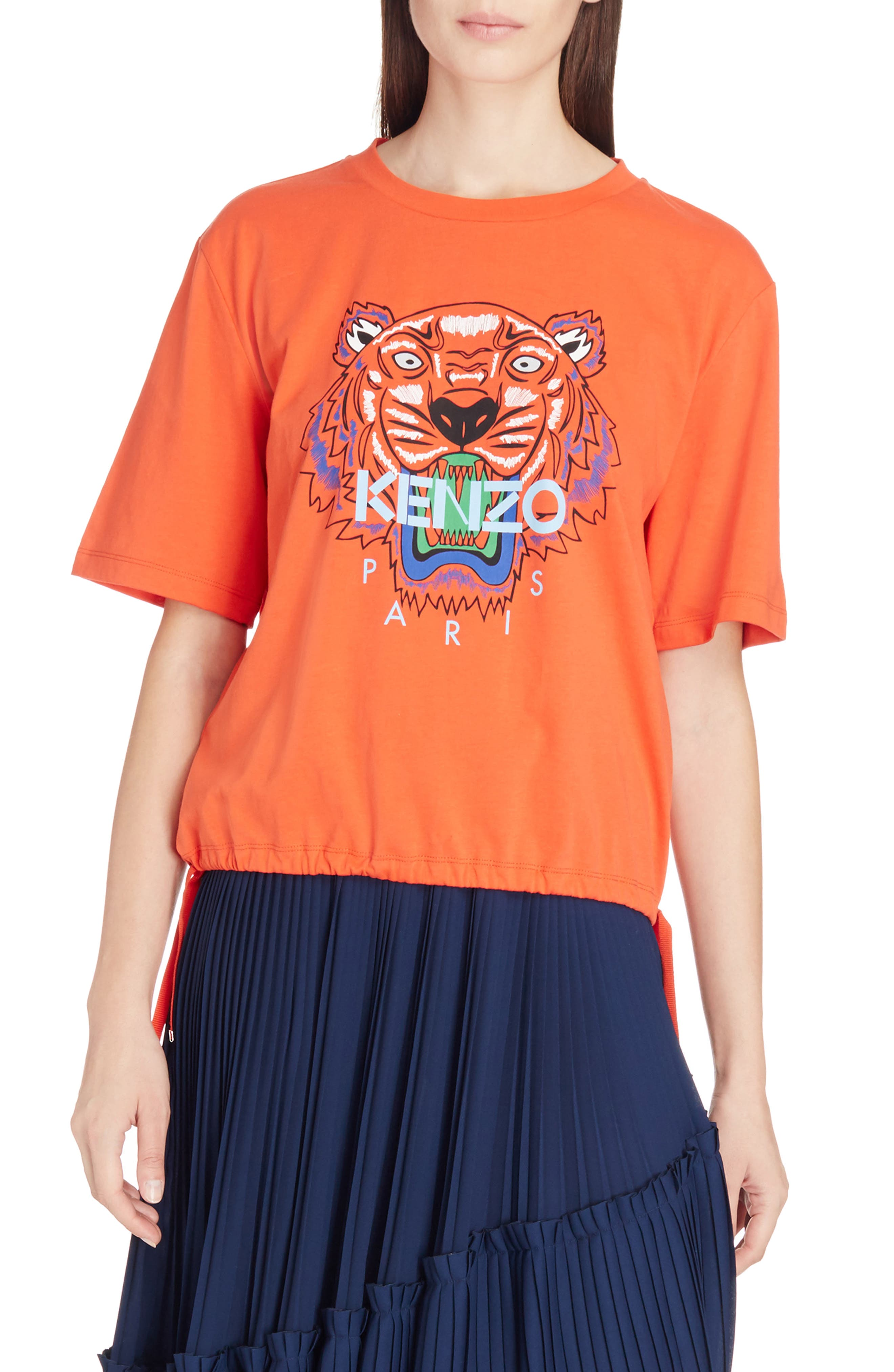 Tiger Drawstring Graphic Tee,                         Main,                         color, Medium Red
