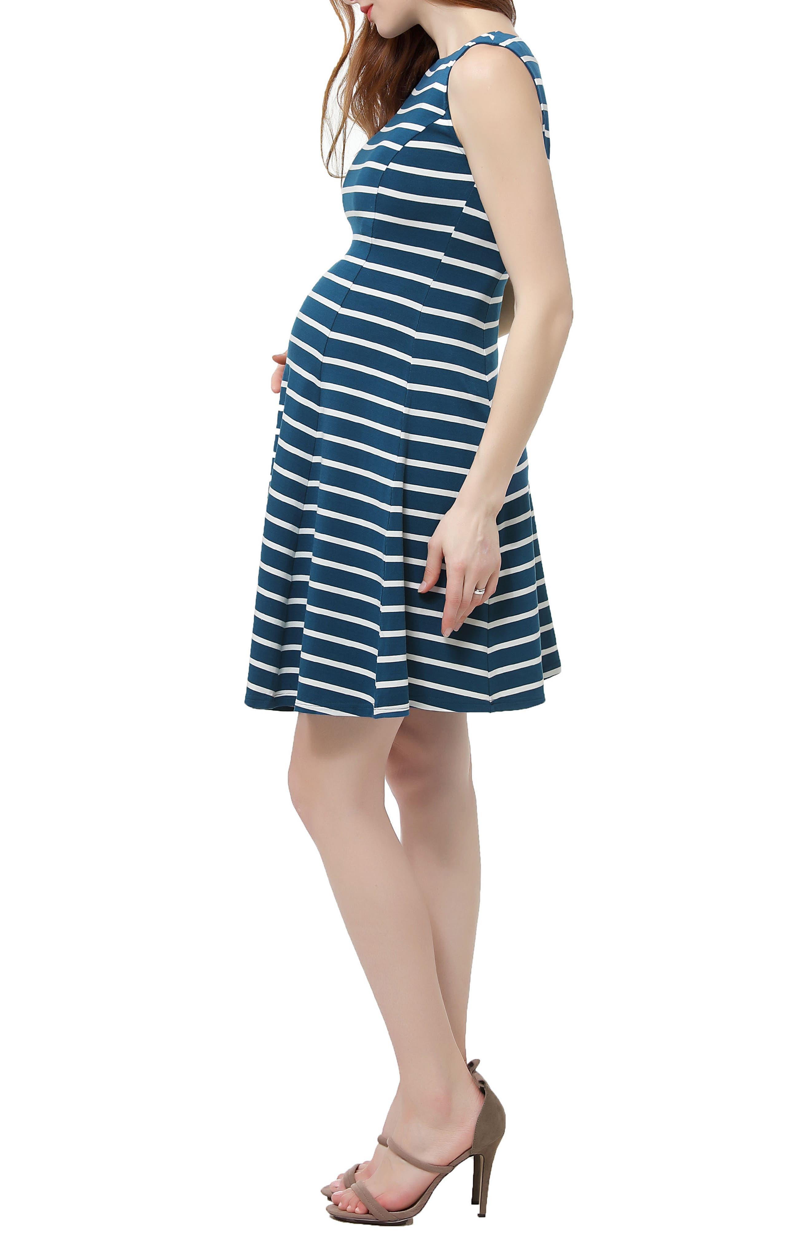 Emilia Stripe Fit & Flare Maternity Dress,                             Alternate thumbnail 3, color,                             Teal/ Ivory