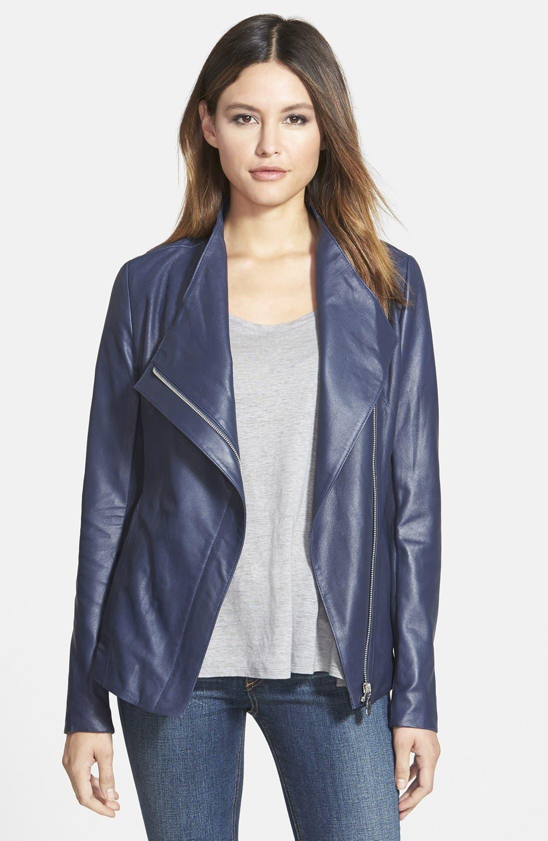 Main Image - Elie Tahari 'Constance' Drape Front Leather Jacket