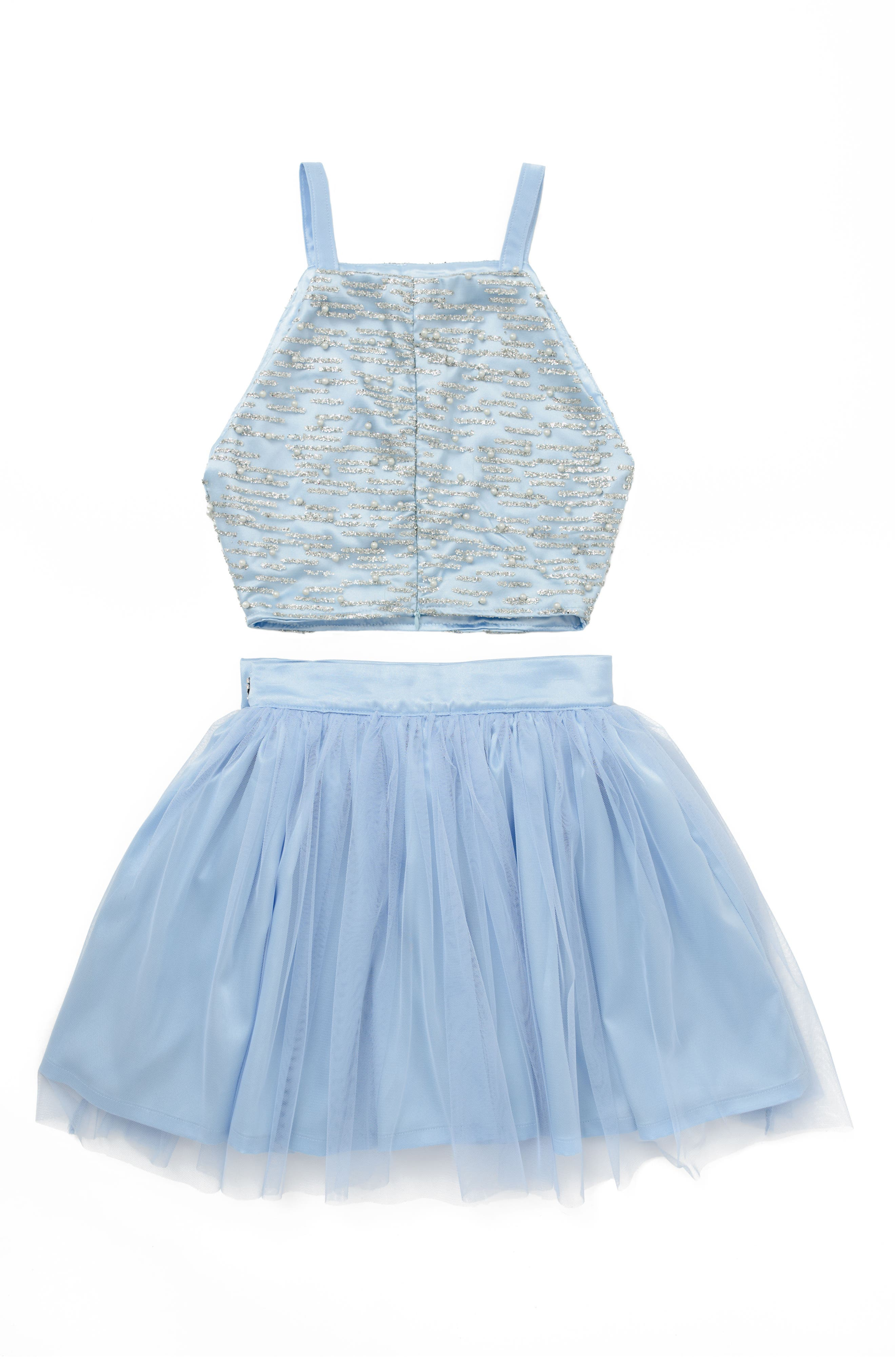 Stella M'Lia Two-Piece Beaded Tulle Dress,                             Alternate thumbnail 3, color,                             Pale Blue