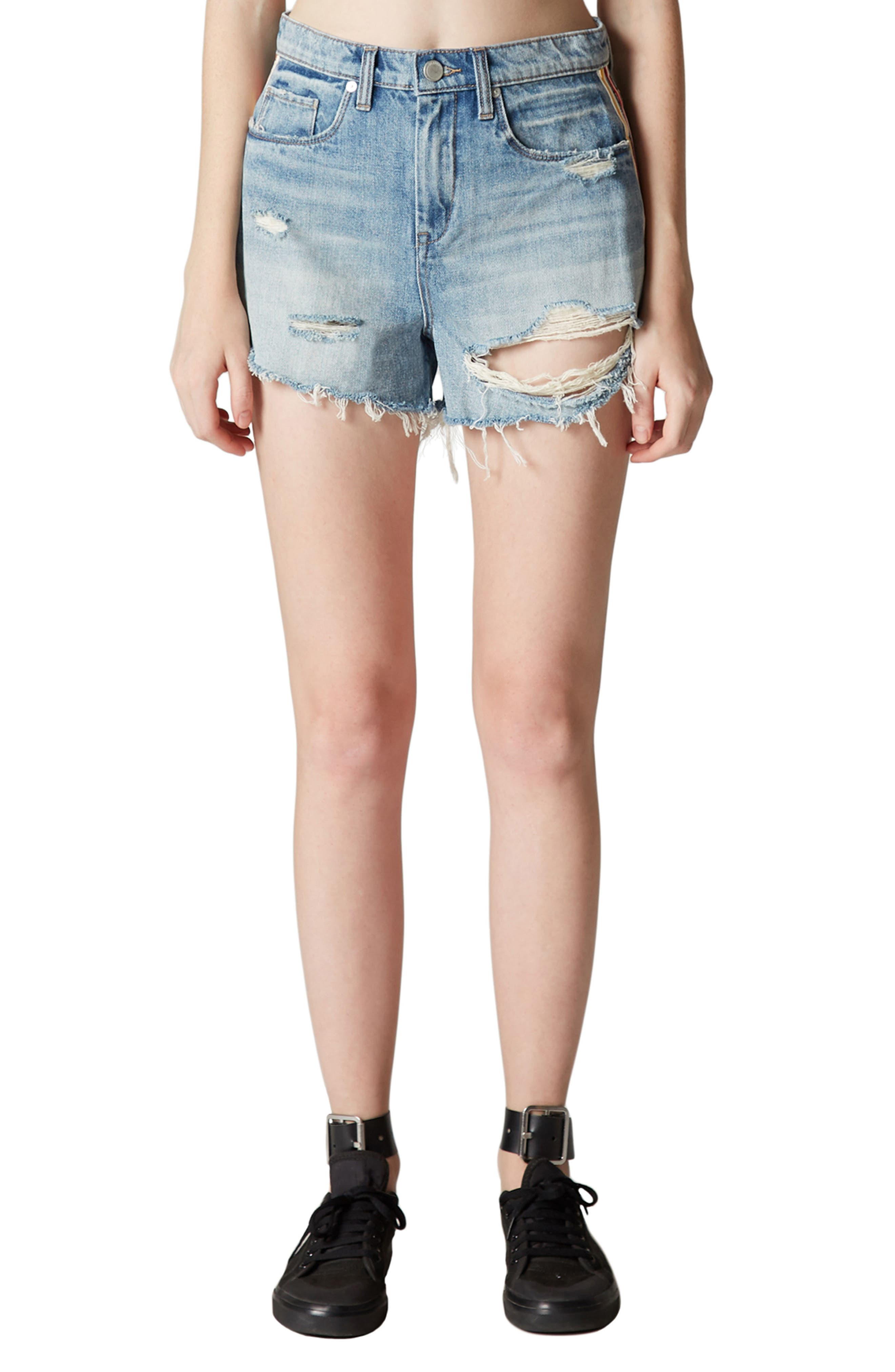 Now or Never Side Stripe Distressed Denim Shorts,                             Main thumbnail 1, color,                             Blue