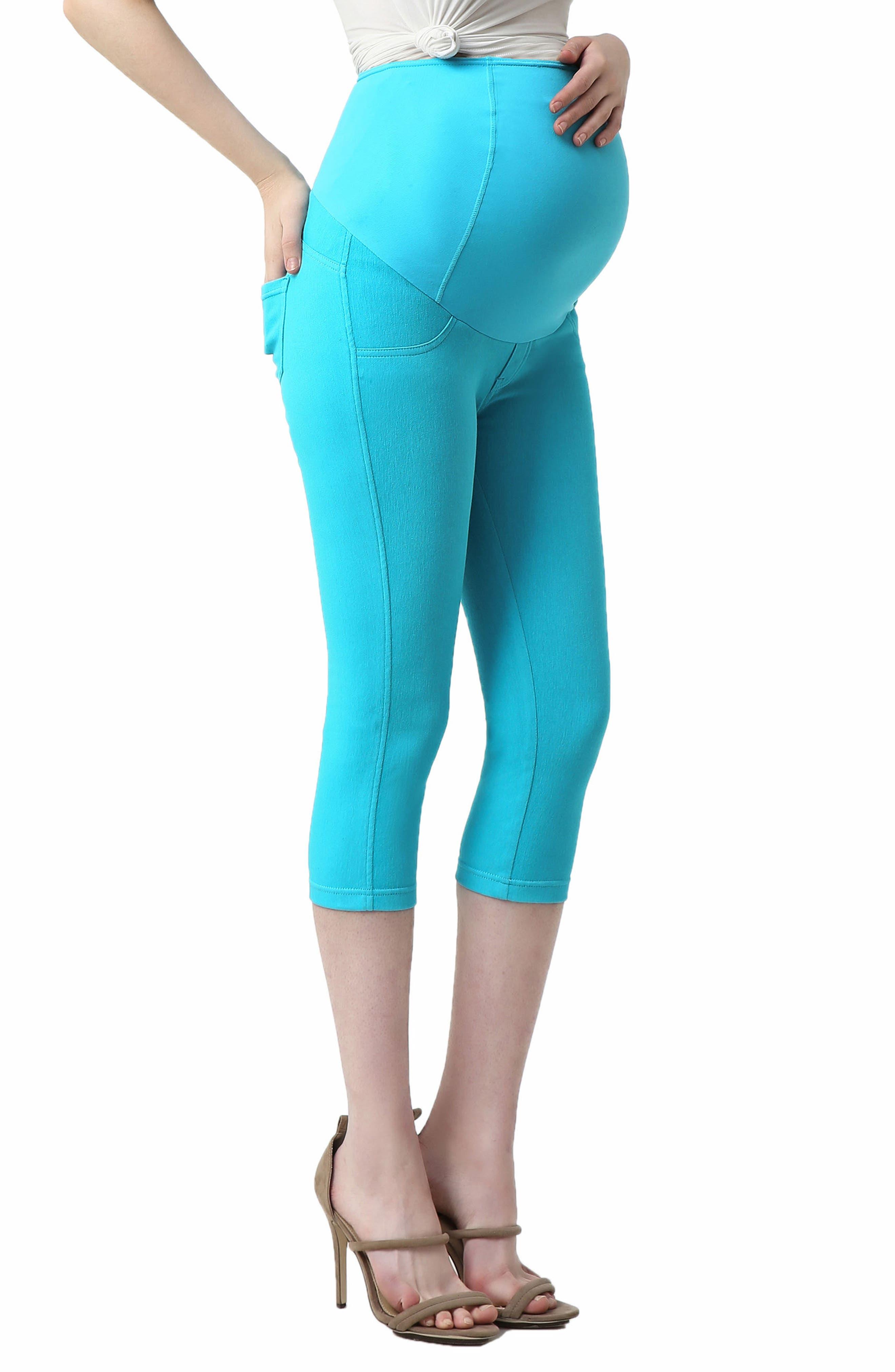 Melody Capri Denim Maternity Leggings,                             Alternate thumbnail 3, color,                             Aqua Blue