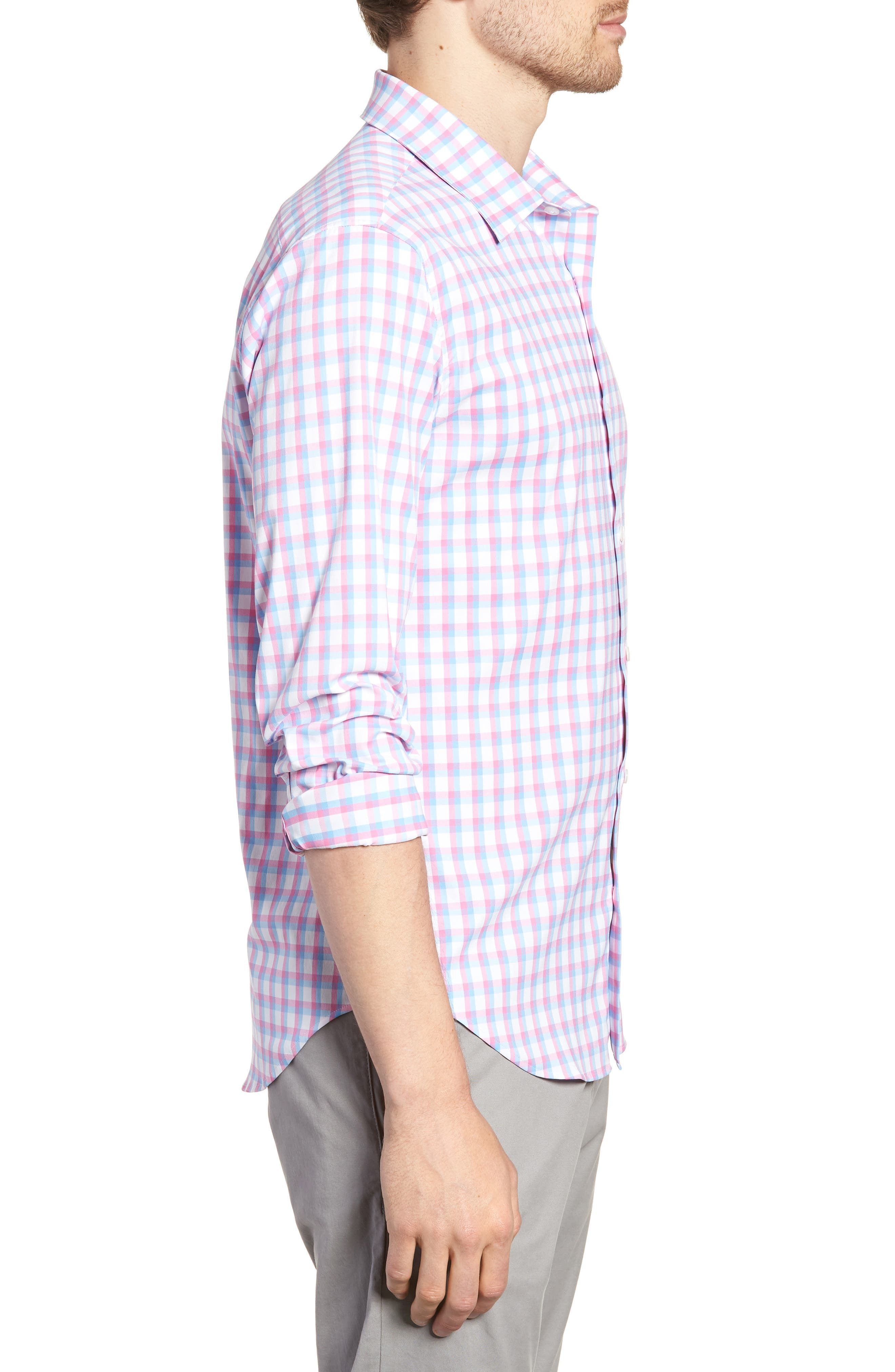 Slim Fit Check Performance Sport Shirt,                             Alternate thumbnail 4, color,                             Ultimo Check - Pacific Pink