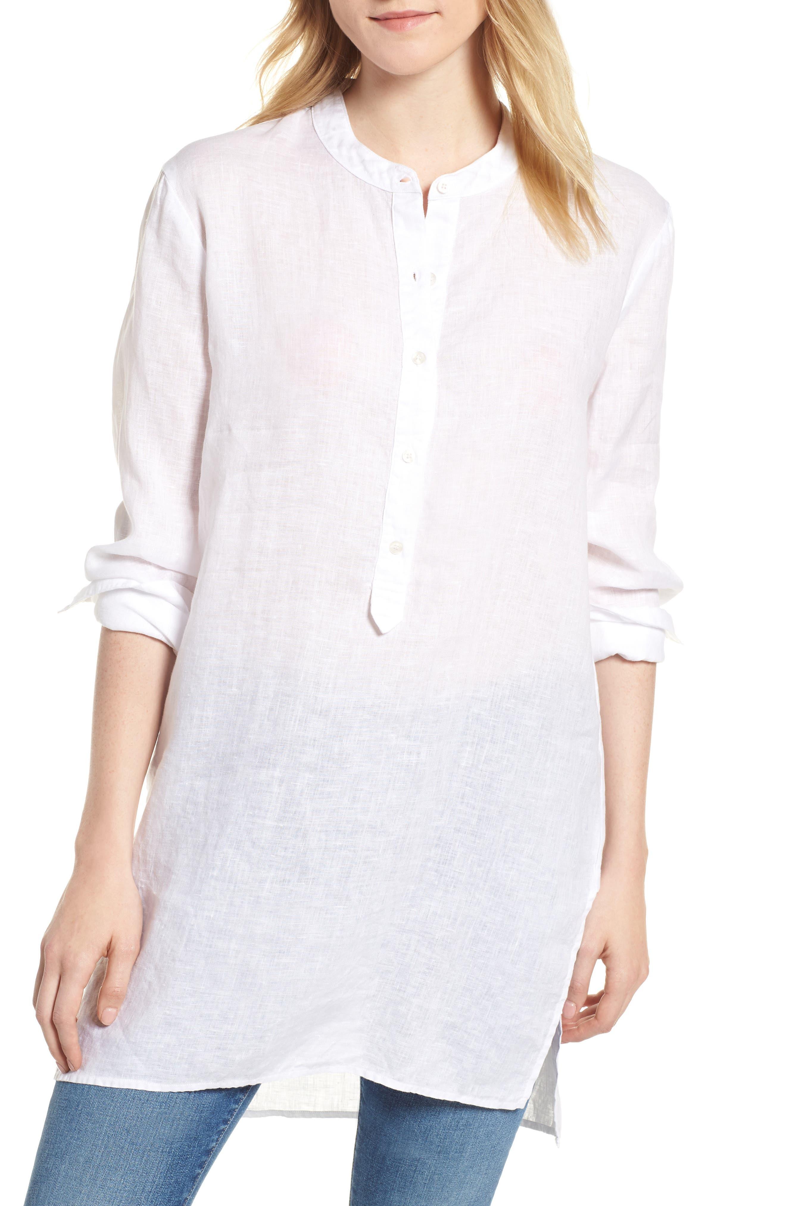 Shirting Tunic Top,                             Main thumbnail 1, color,                             White