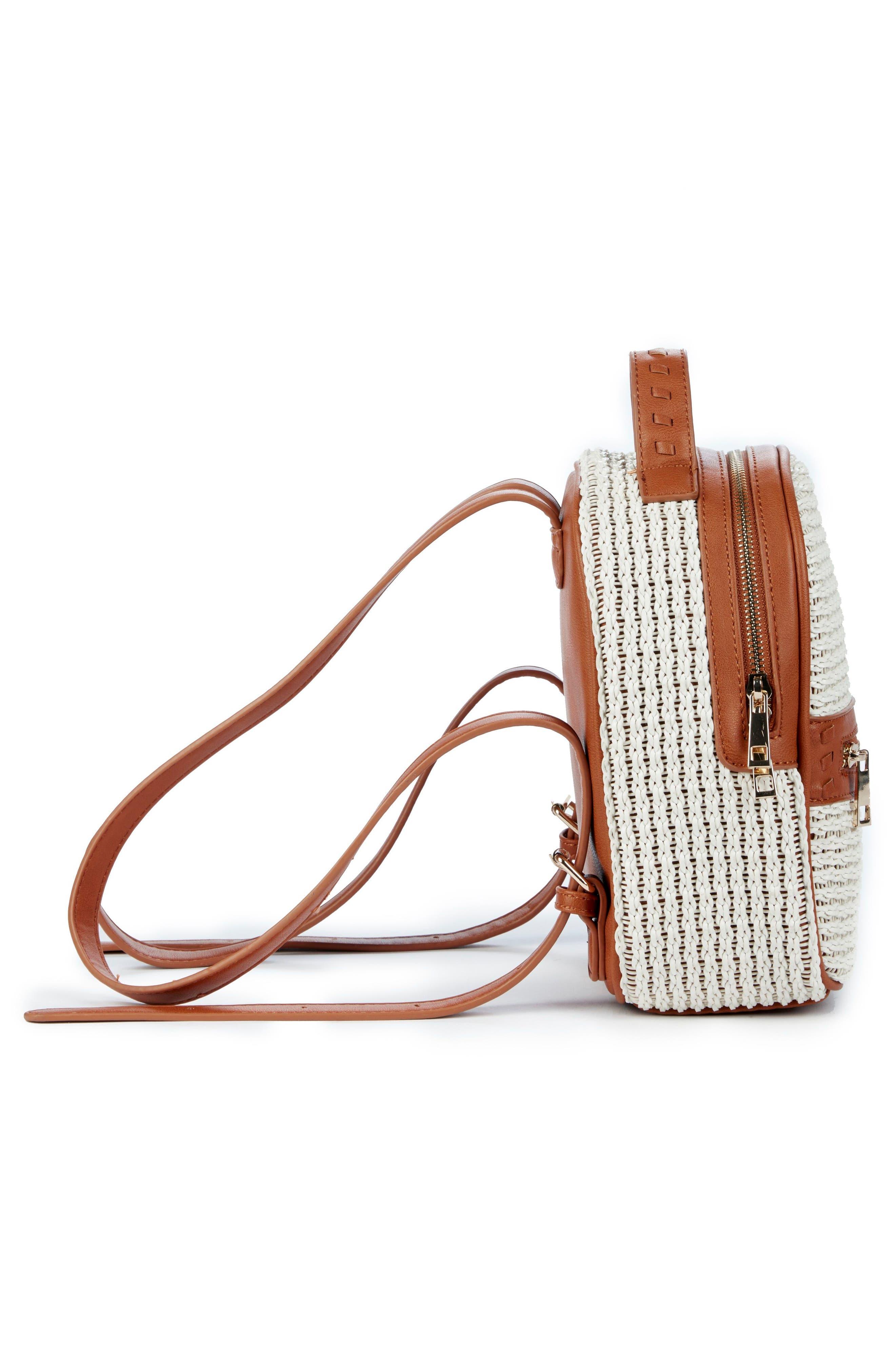 Nikole Faux Leather Backpack,                             Alternate thumbnail 4, color,                             Camel