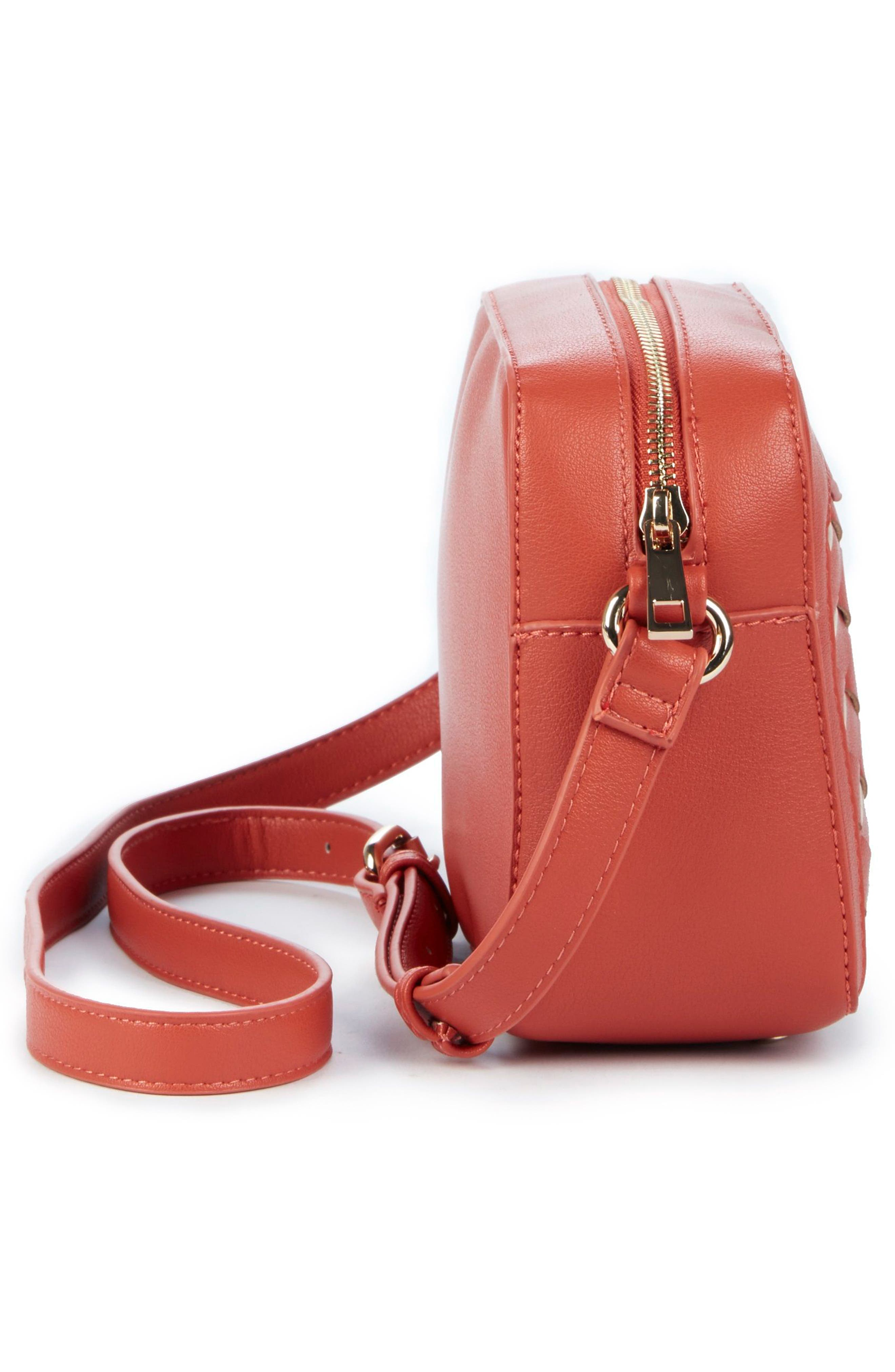 Hand Woven Faux Leather Crossbody Bag,                             Alternate thumbnail 4, color,                             Coral