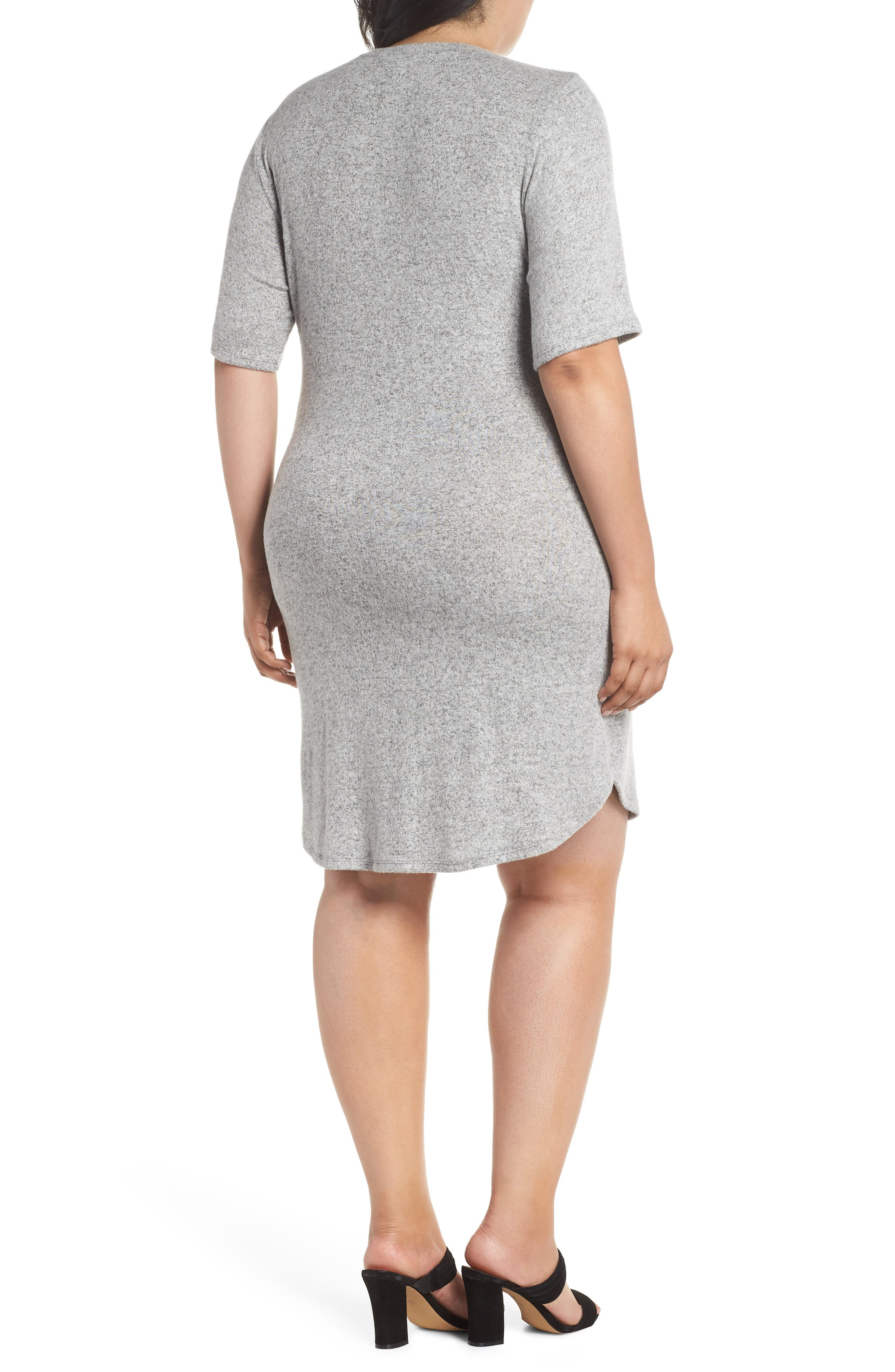 Off-Duty Tie Front Knit Dress,                             Alternate thumbnail 2, color,                             Grey Heather