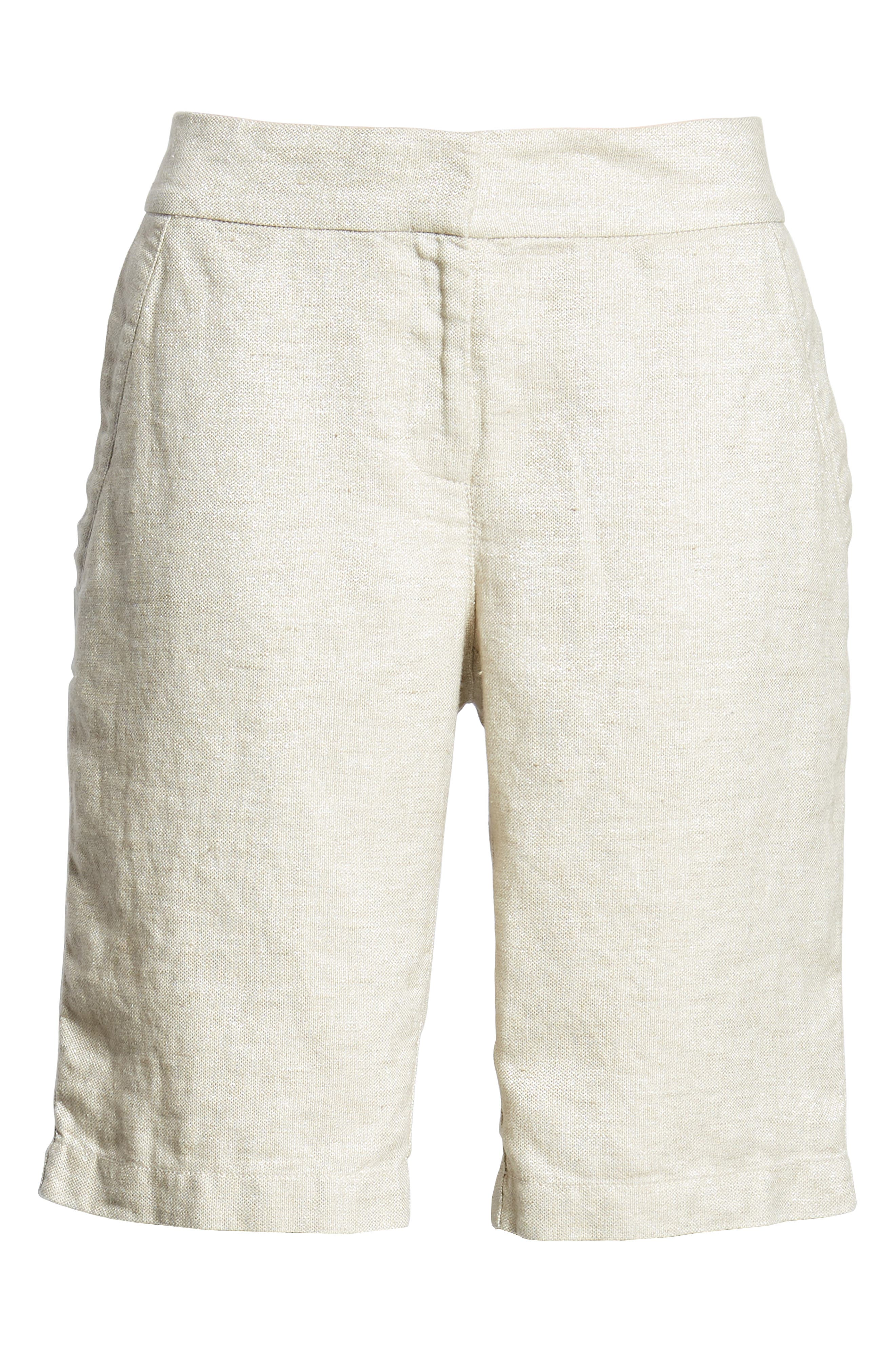Organic Linen Blend Walking Shorts,                             Alternate thumbnail 6, color,                             Natural