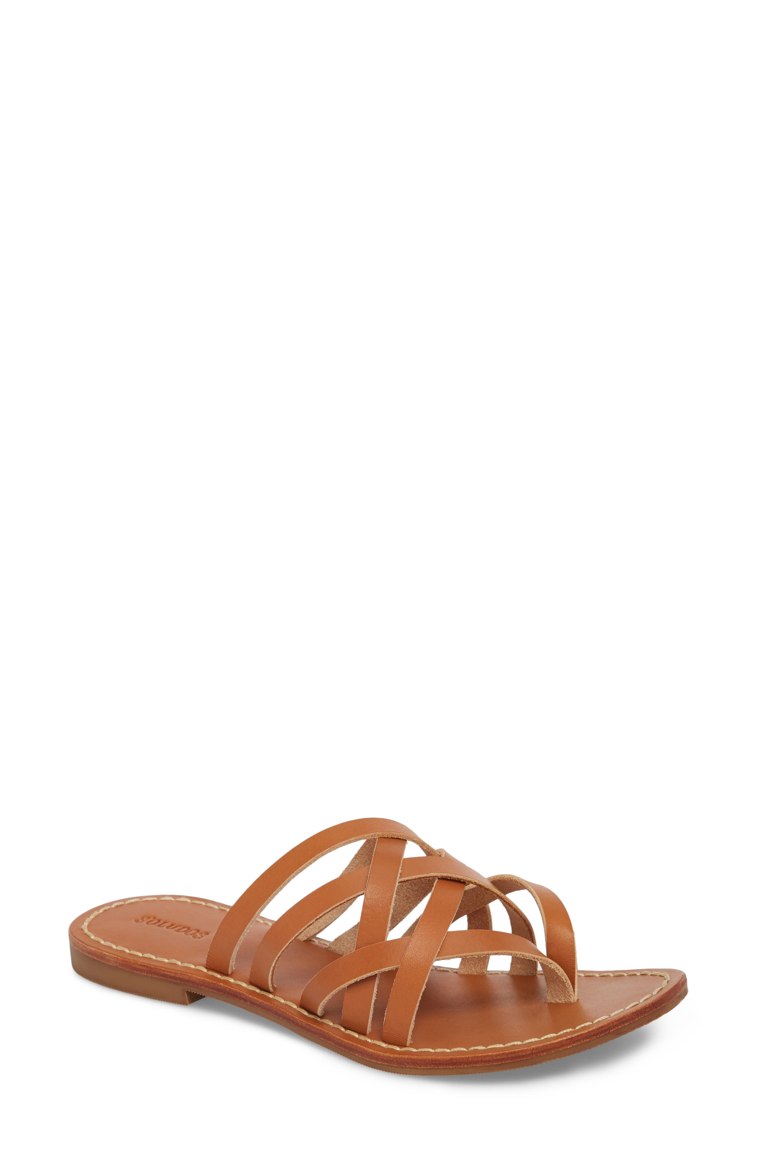 Strappy Sandal,                         Main,                         color, Natural Leather