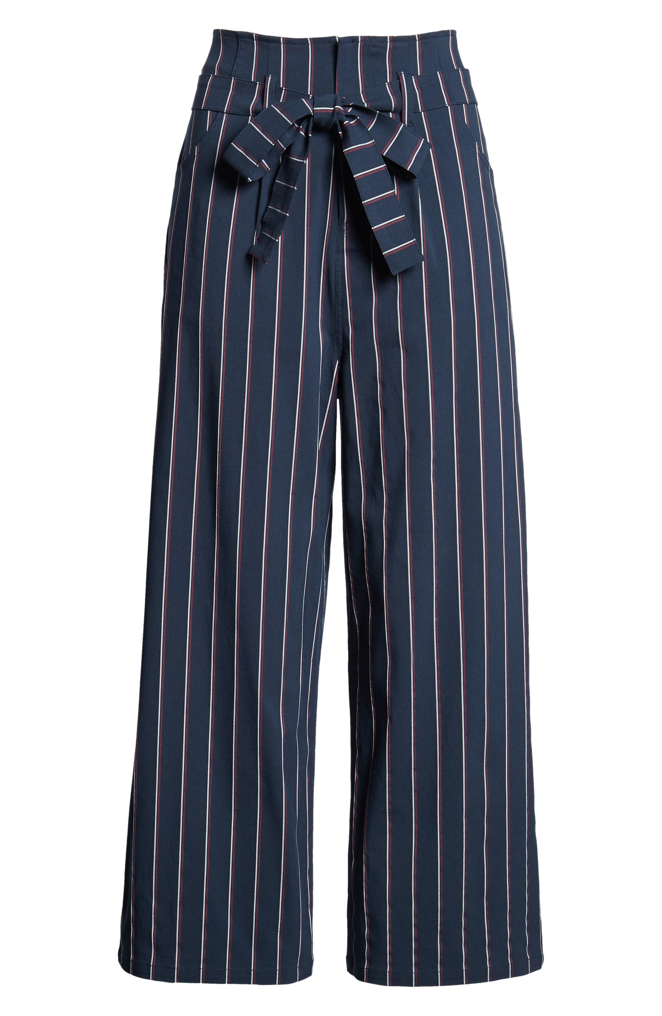 Tie Waist Crop Trousers,                             Alternate thumbnail 7, color,                             Navy Night Stripe