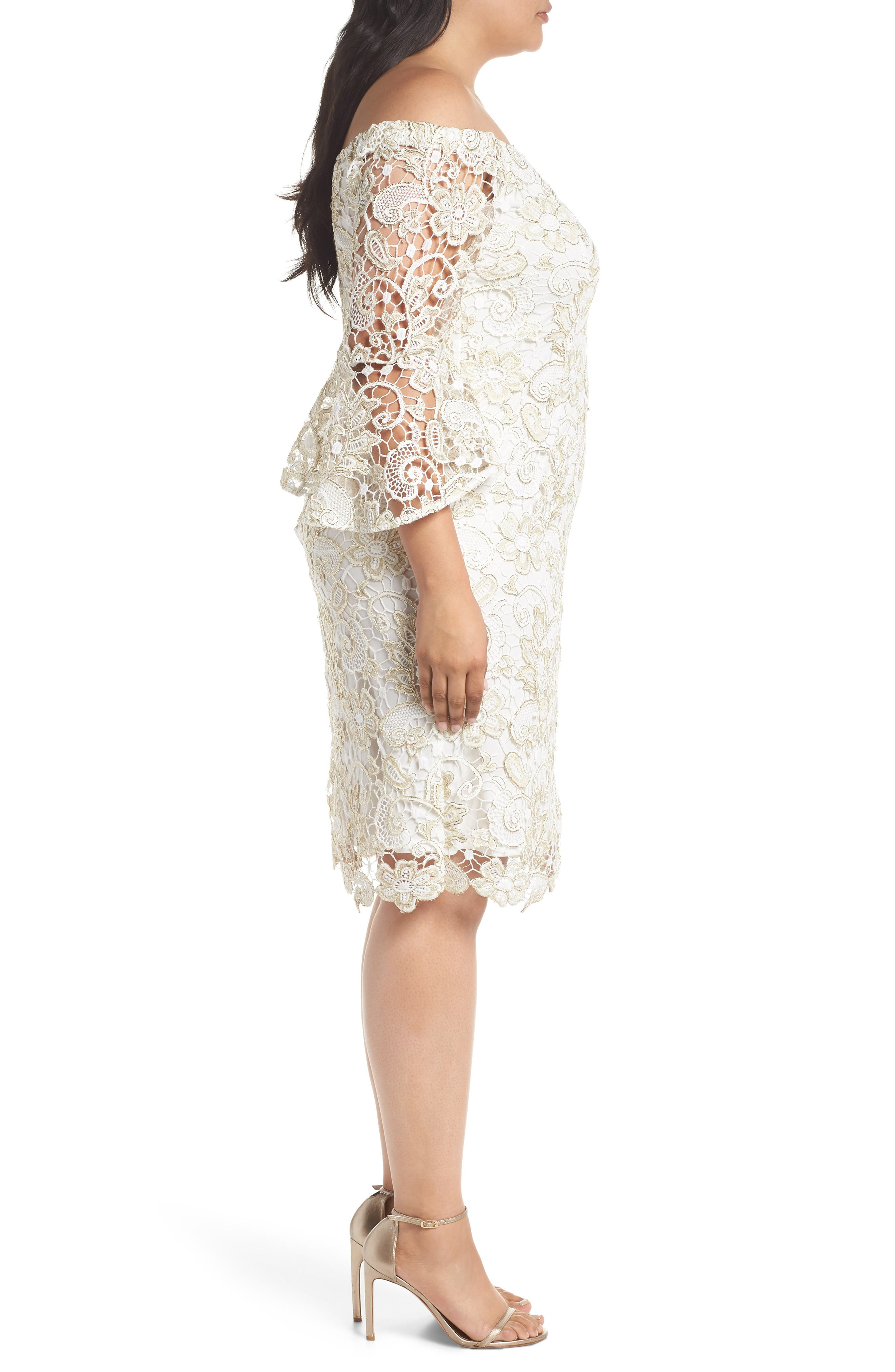 Alternate Image 3  - Marina Lace Off the Shoulder Bell Sleeve Dress (Plus Size)