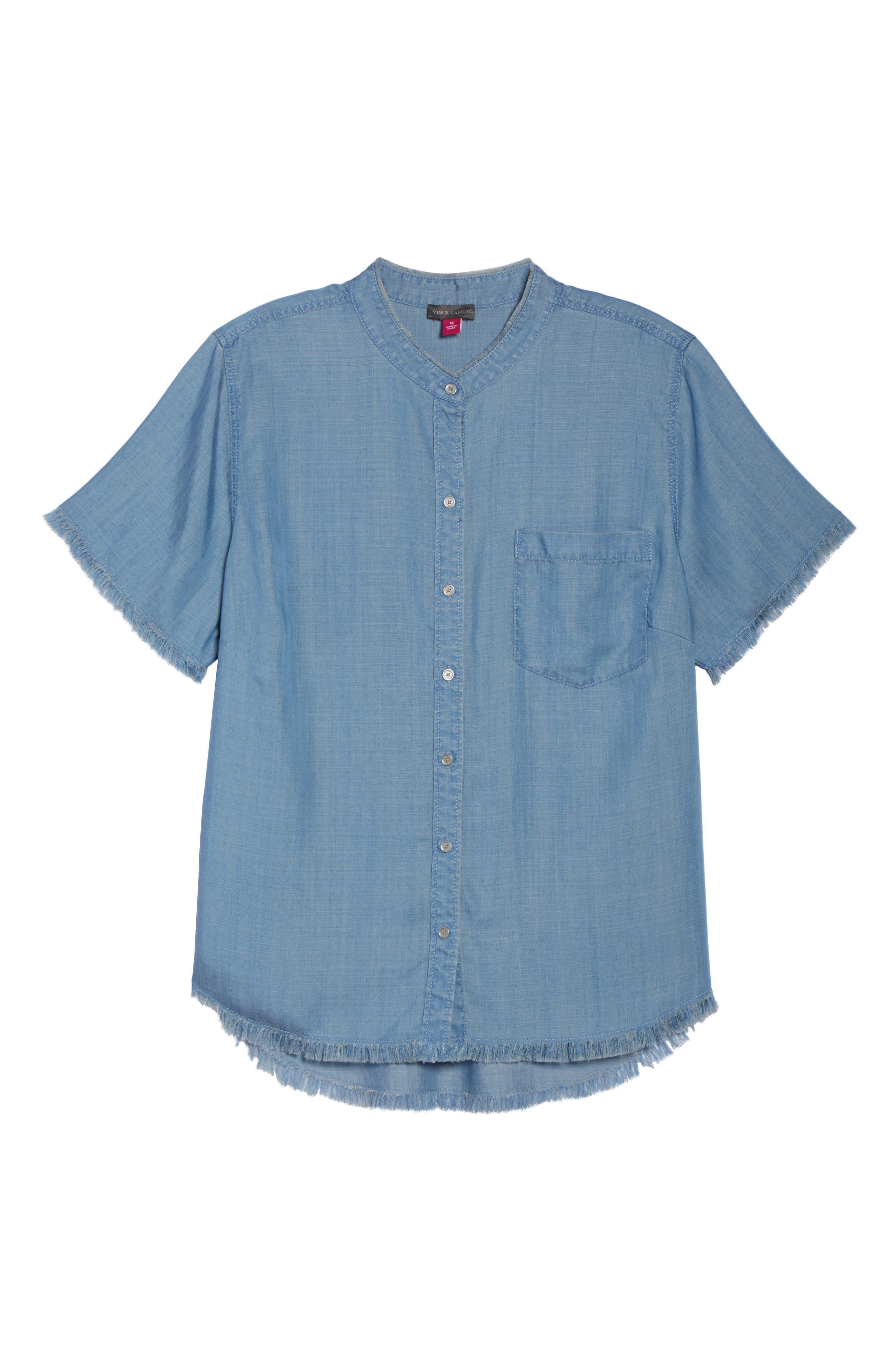 Frayed Edge Linen Chambray Shirt,                             Alternate thumbnail 7, color,                             Vintage
