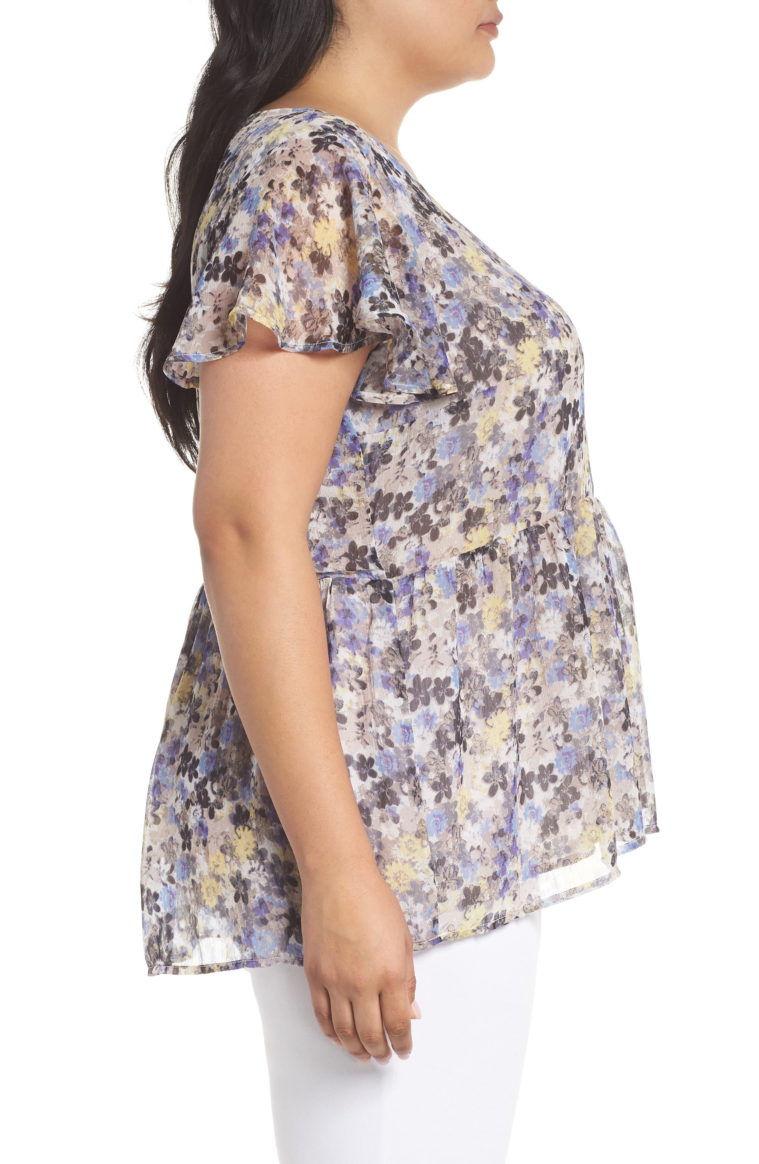 Floral Tie Back Top,                             Alternate thumbnail 3, color,                             Blue Multi