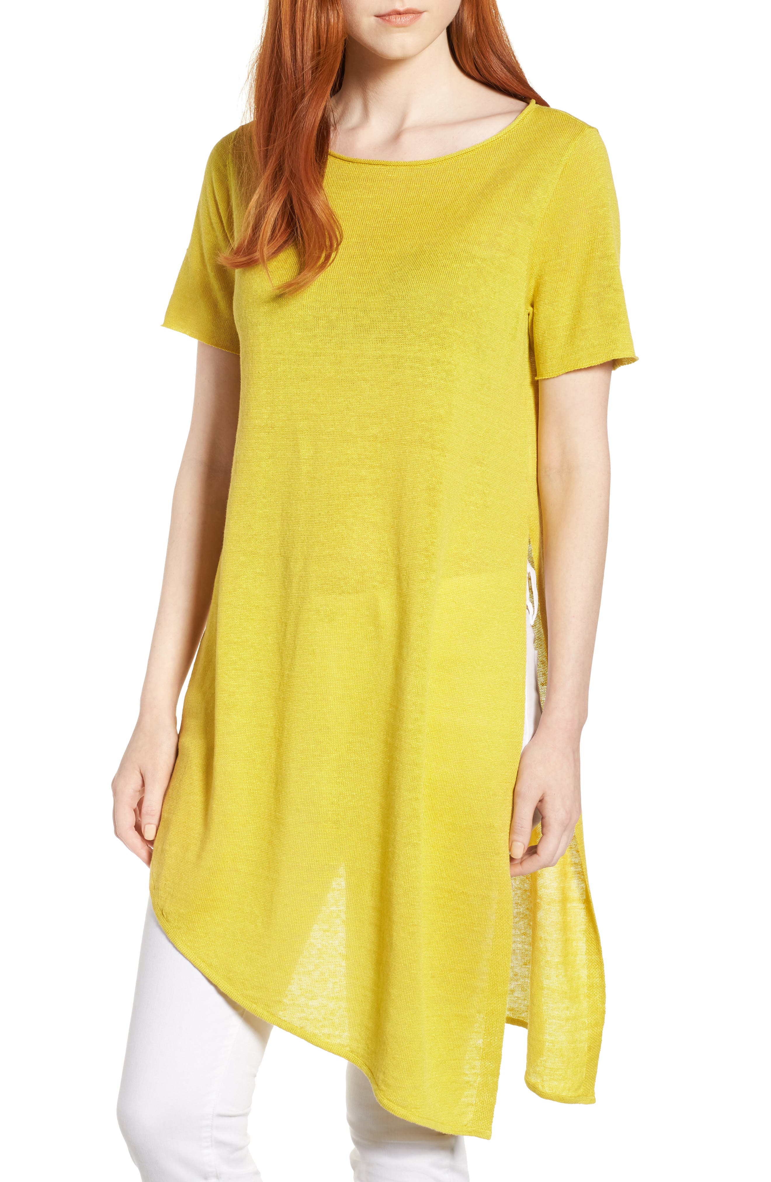Asymmetrical Organic Linen Tunic,                             Main thumbnail 1, color,                             Yarrow