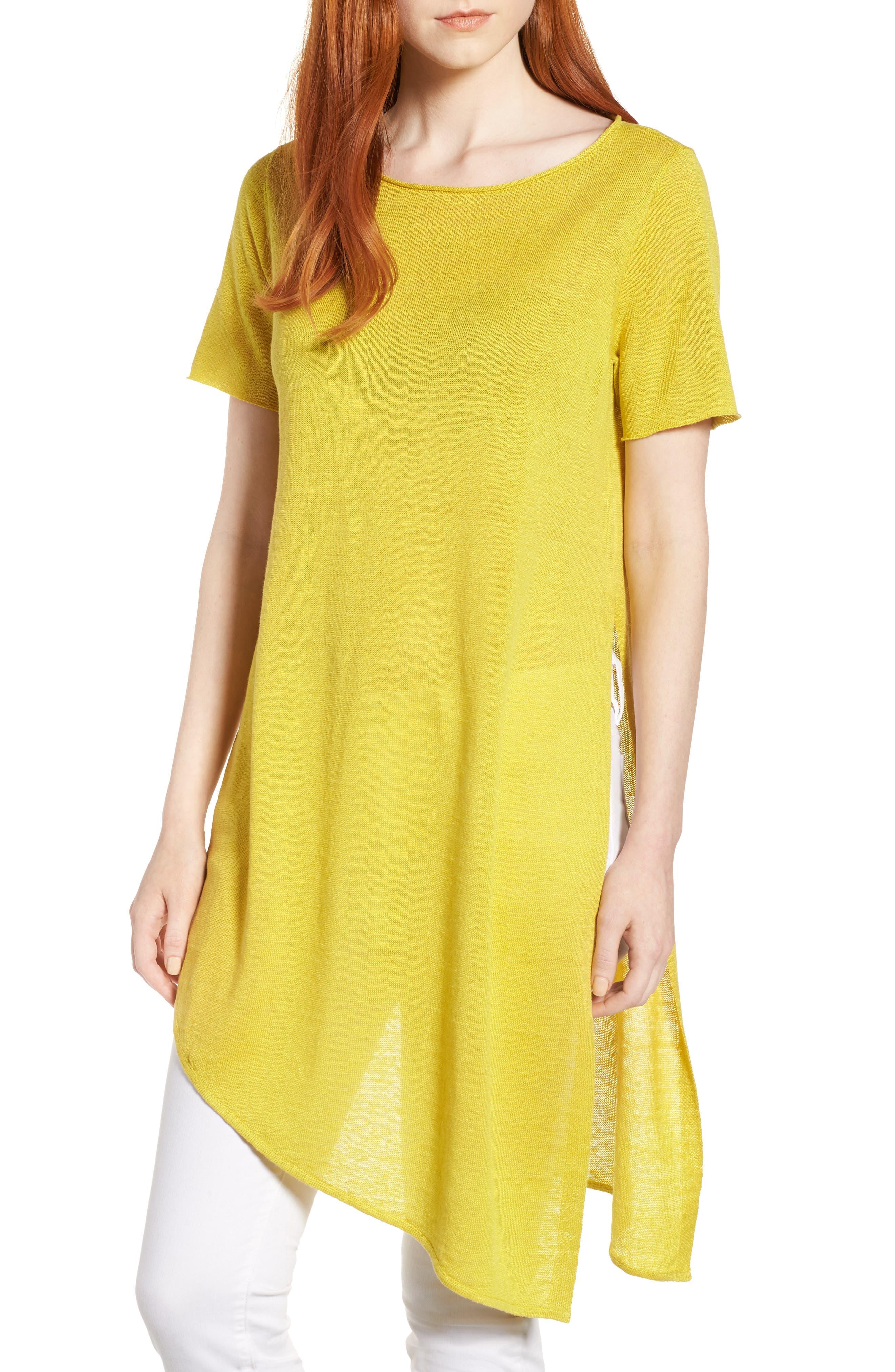 Asymmetrical Organic Linen Tunic,                         Main,                         color, Yarrow