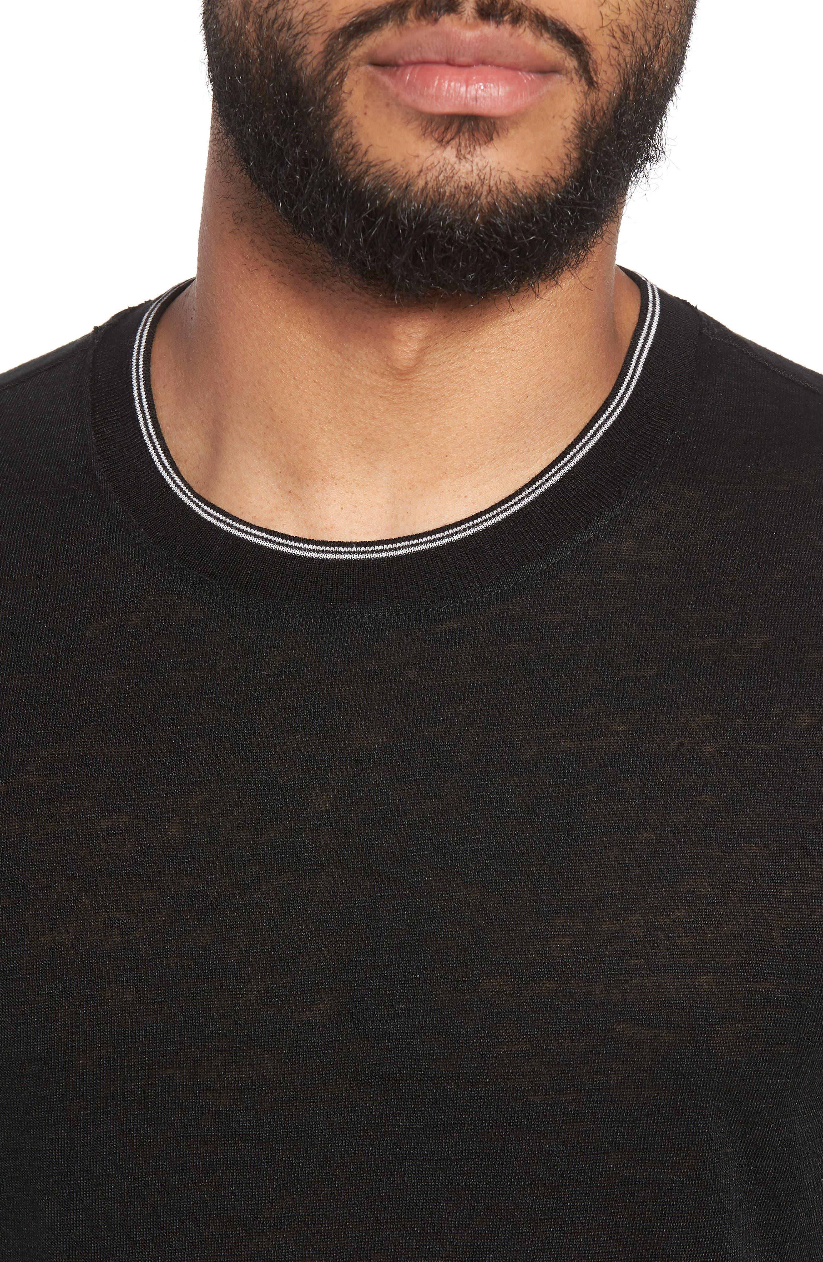 Alternate Image 4  - Vince Slim Fit Tipped Linen T-Shirt