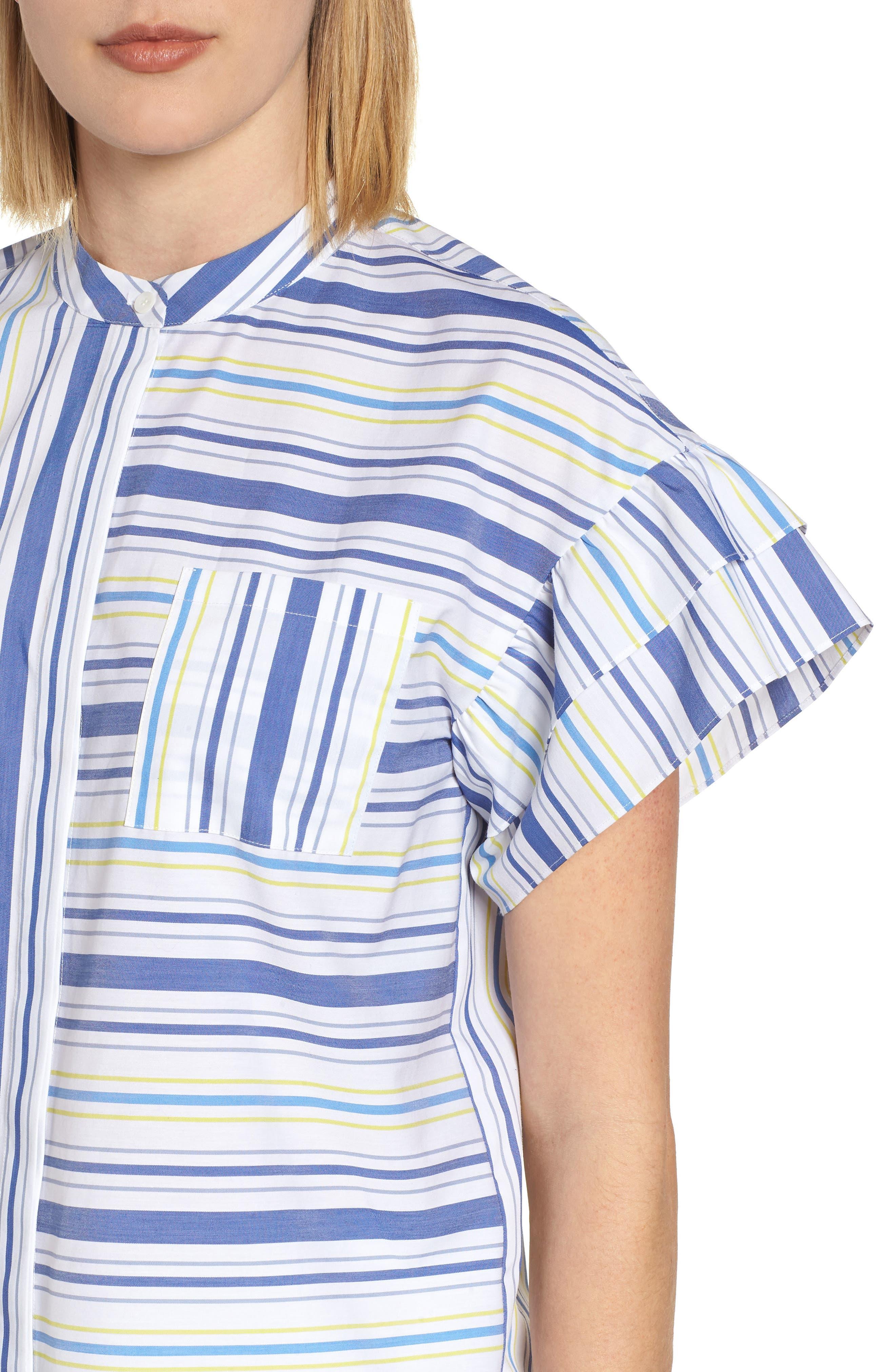 Ruffle Sleeve Stretch Cotton Blend Blouse,                             Alternate thumbnail 4, color,                             White Multi Stripe