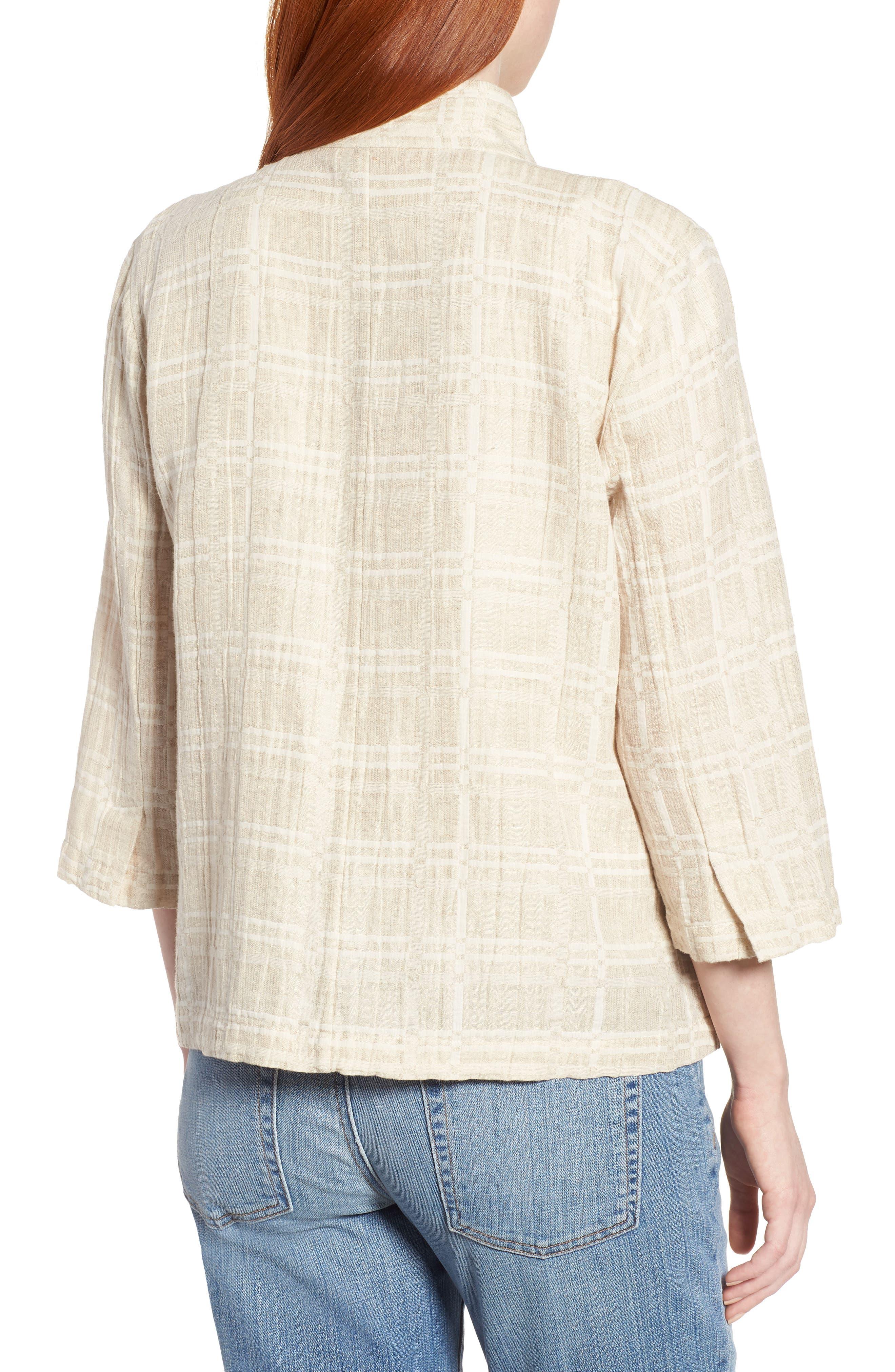 Check Organic Cotton & Linen Jacket,                             Alternate thumbnail 2, color,                             Natural