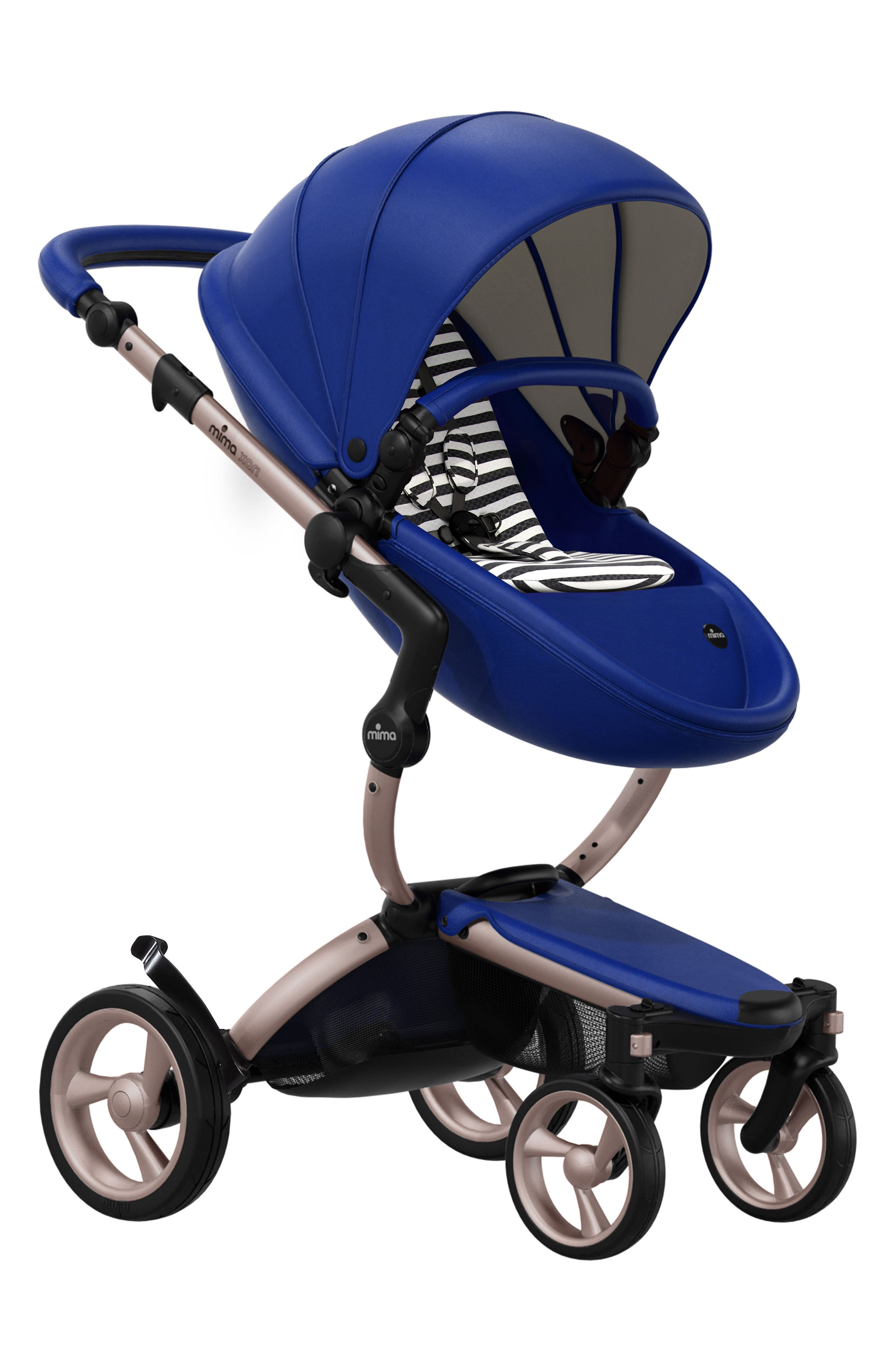 Main Image - Mima Xari Rose Gold Chassis Stroller with Reversible Reclining Seat & Carrycot