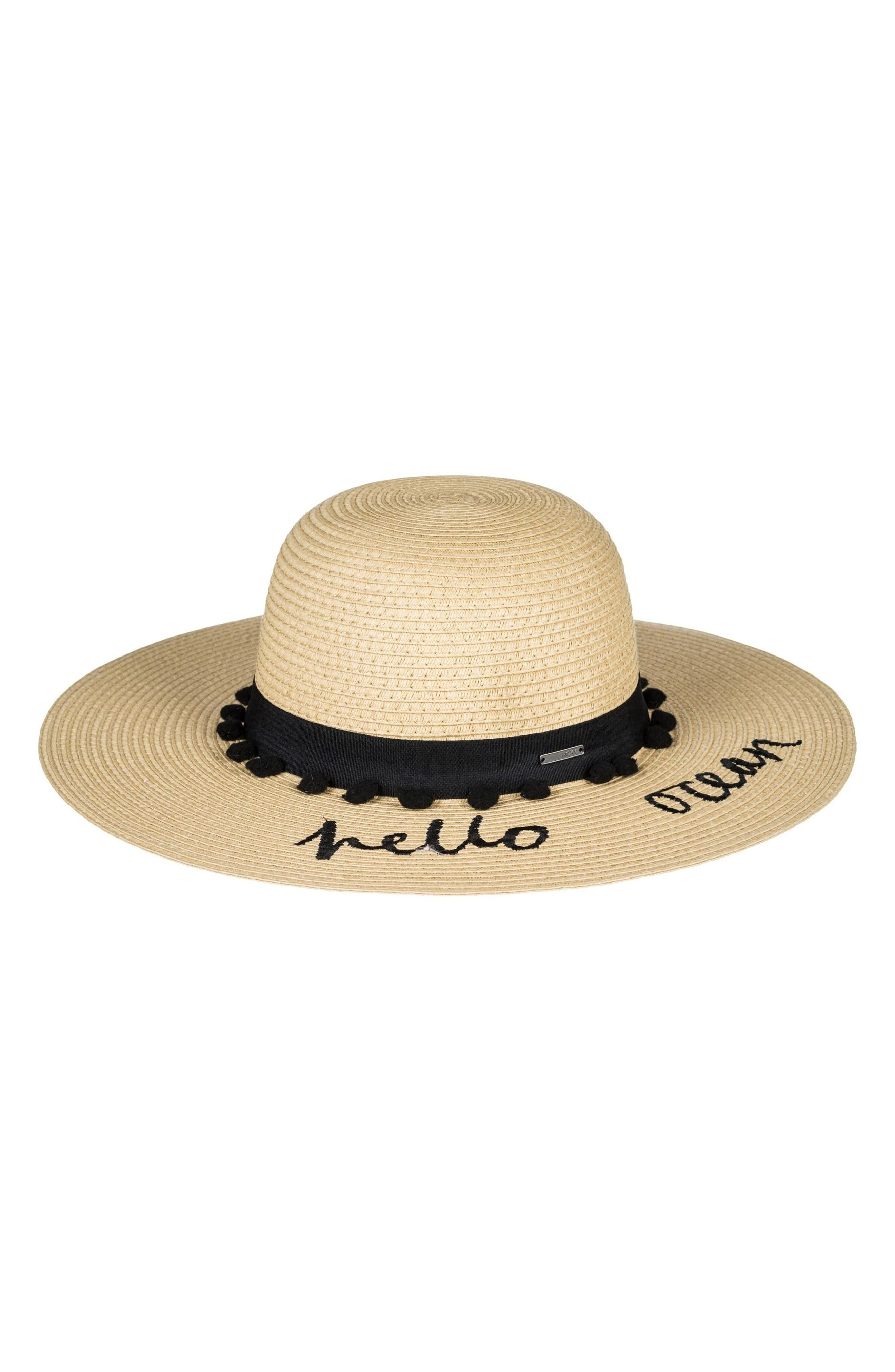 Roxy Pio La La Embroidered Straw Hat