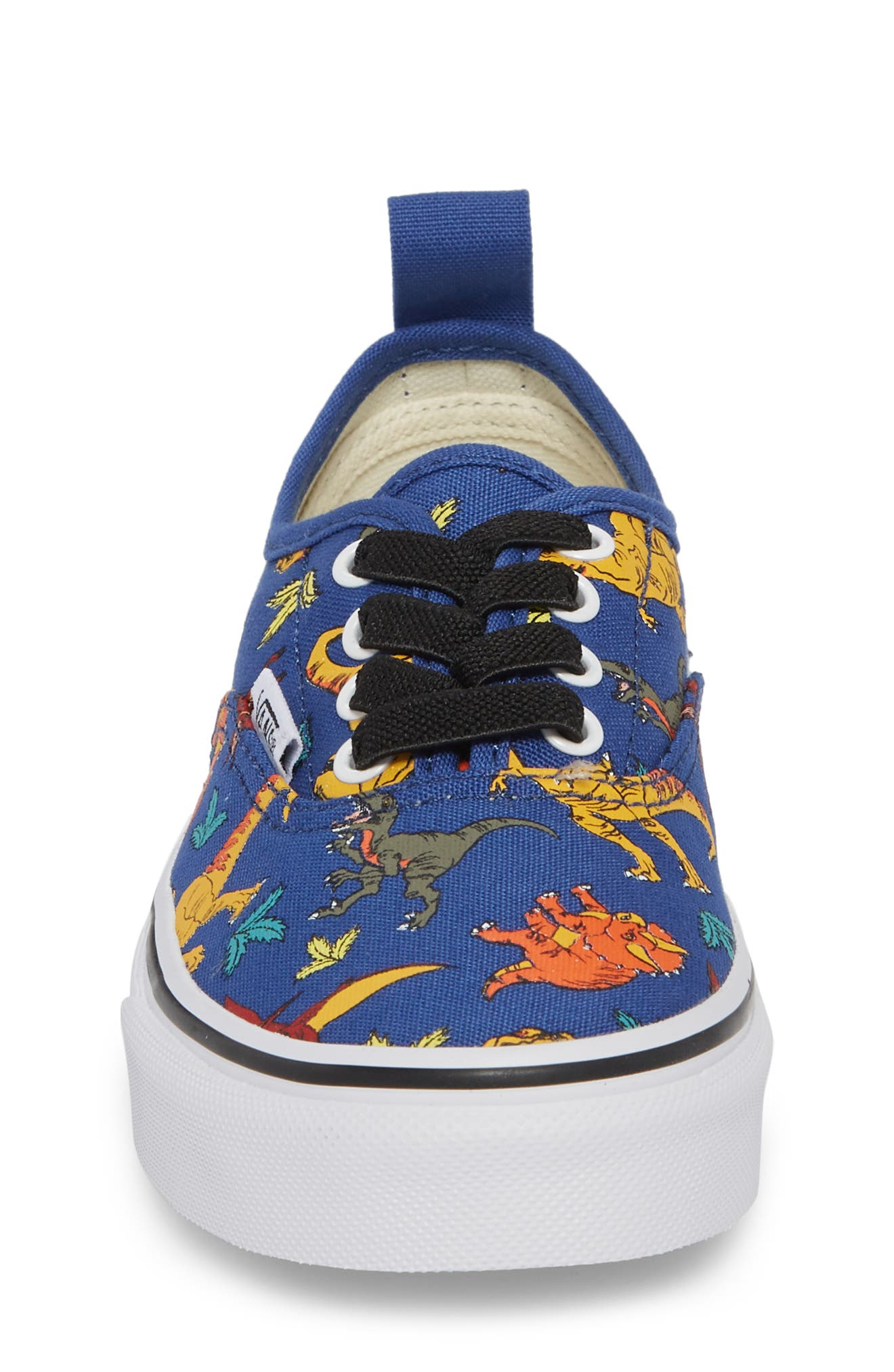 Authentic Elastic Lace Sneaker,                             Alternate thumbnail 4, color,                             Dinosaur Multi/ White