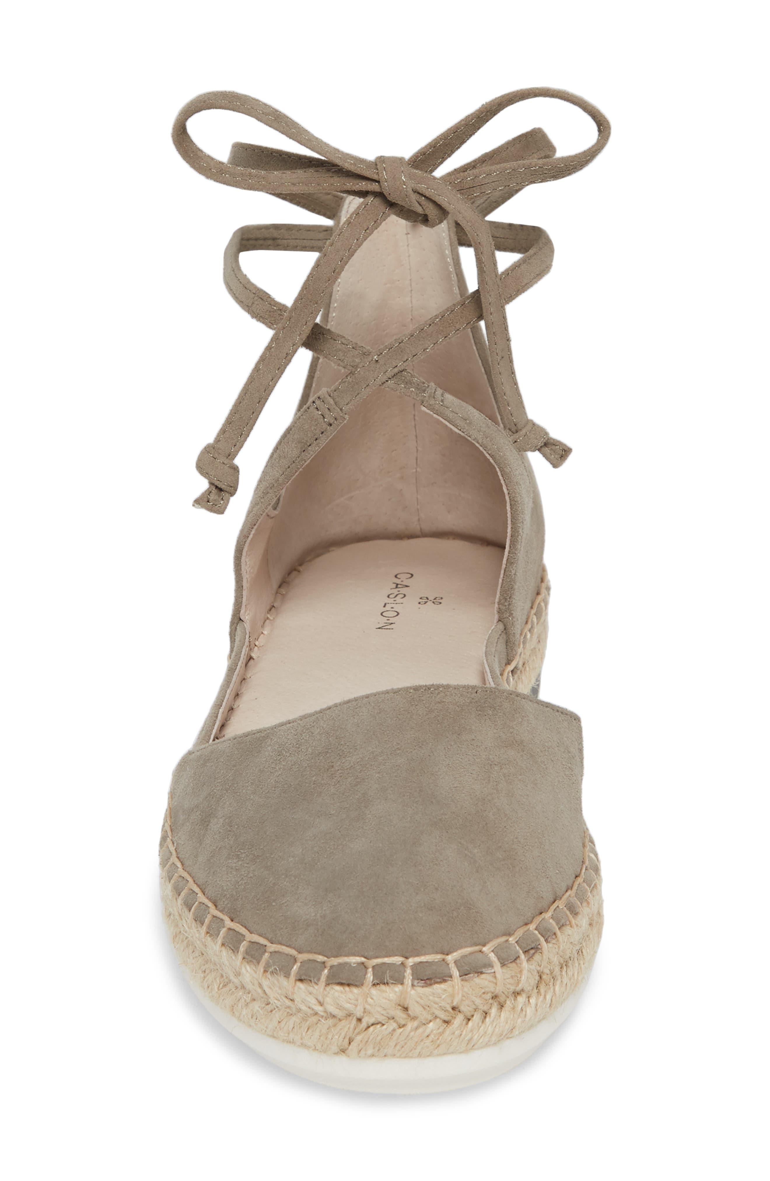 Leena Ankle Strap Sandal,                             Alternate thumbnail 4, color,                             Grey Suede