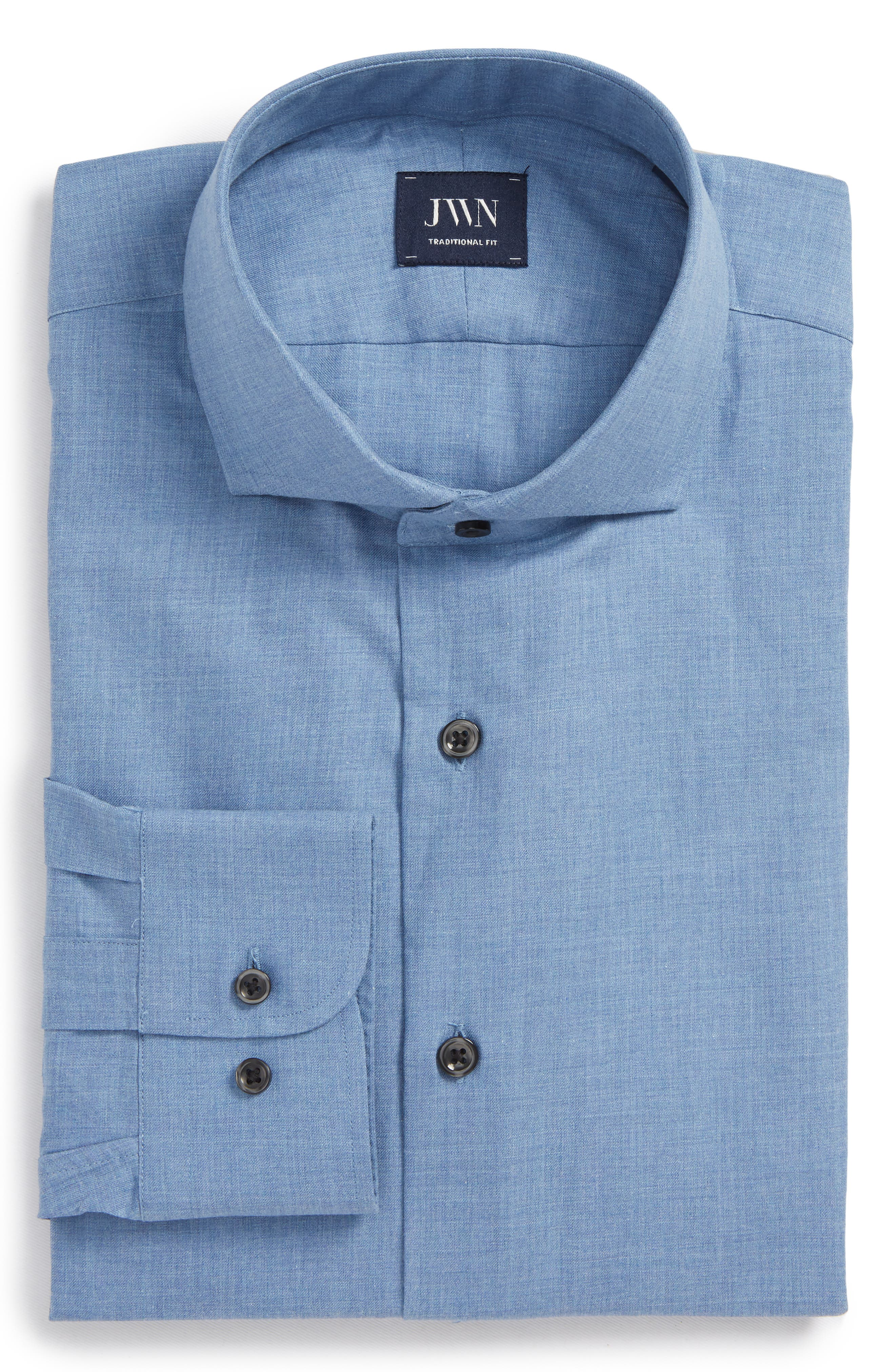 Traditional Fit Solid Dress Shirt,                         Main,                         color, Blue Country