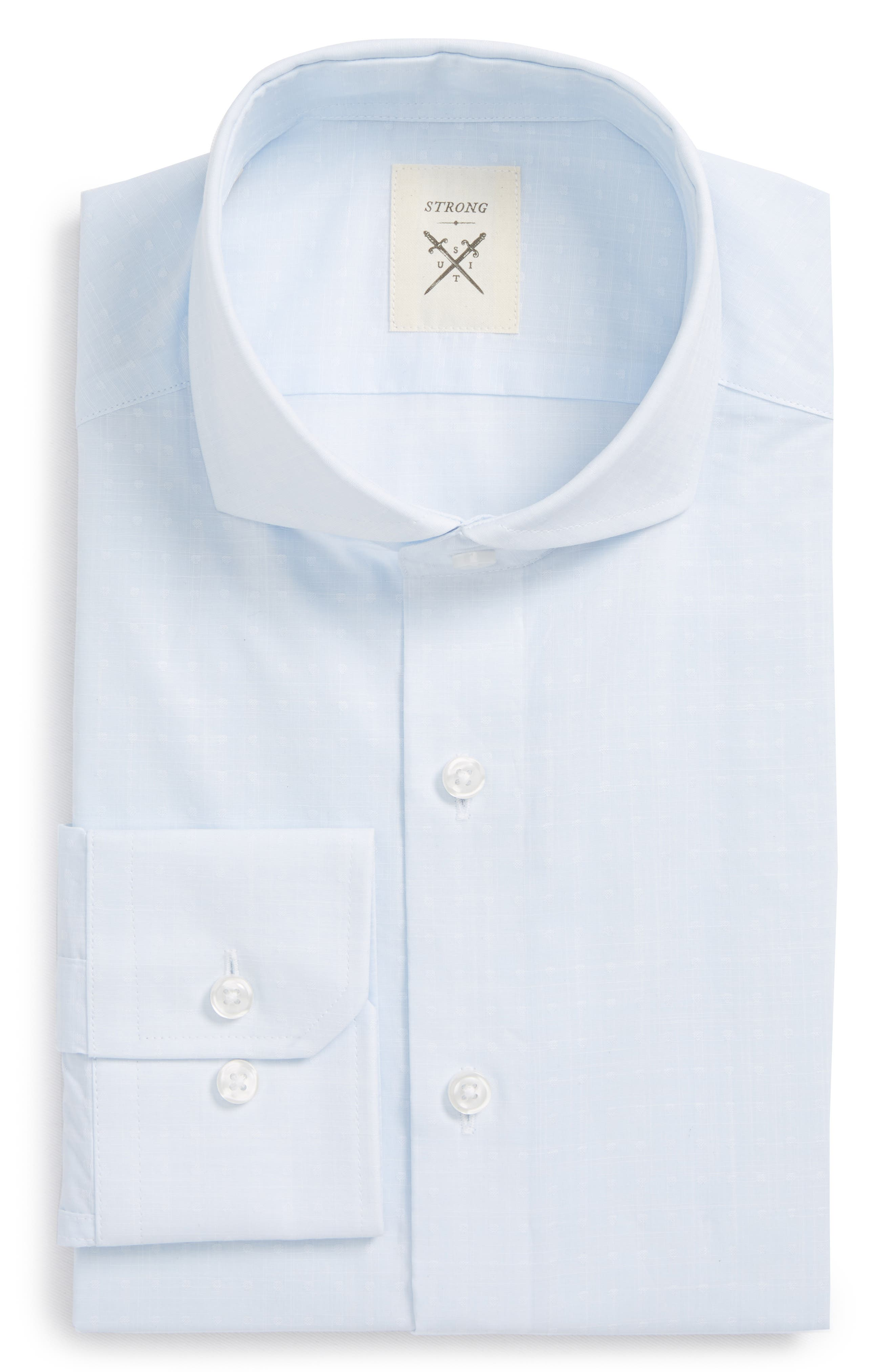 Main Image - Strong Suit Trim Fit Dobby Dress Shirt