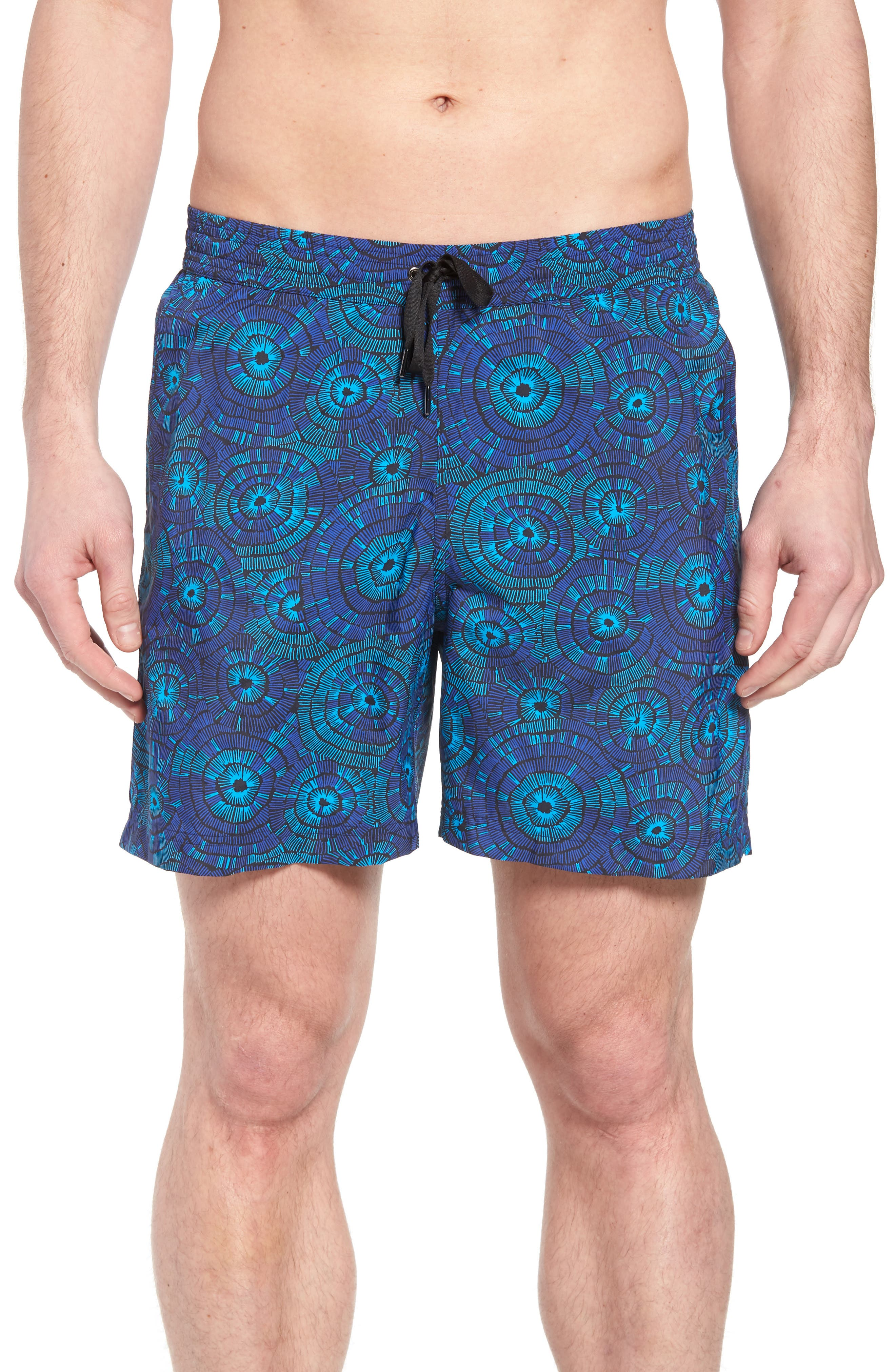 Print Swim Trunks,                         Main,                         color, Navy