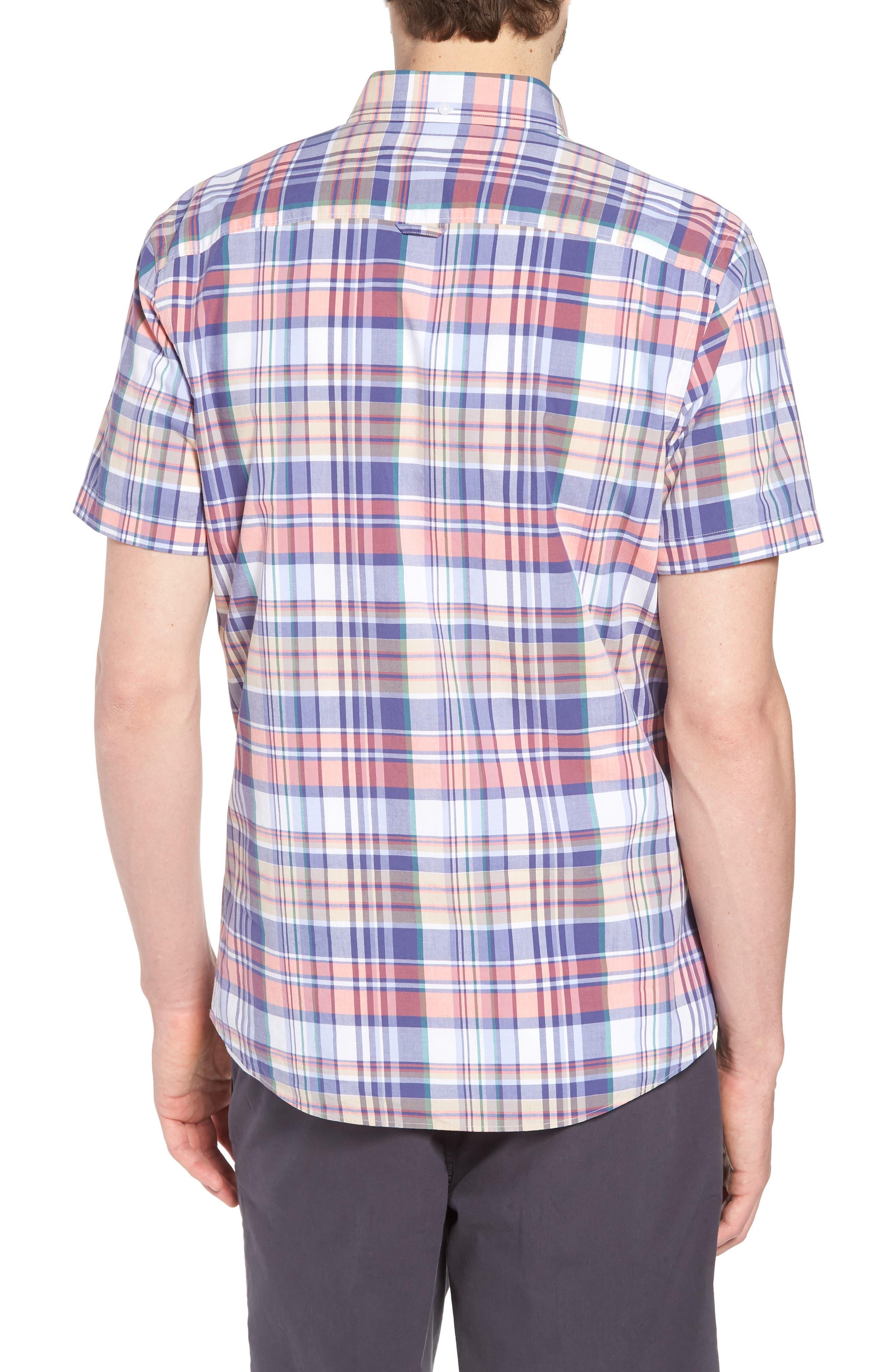 Trim Fit Plaid Short Sleeve Sport Shirt,                             Alternate thumbnail 2, color,                             Navy Coral Multi Plaid