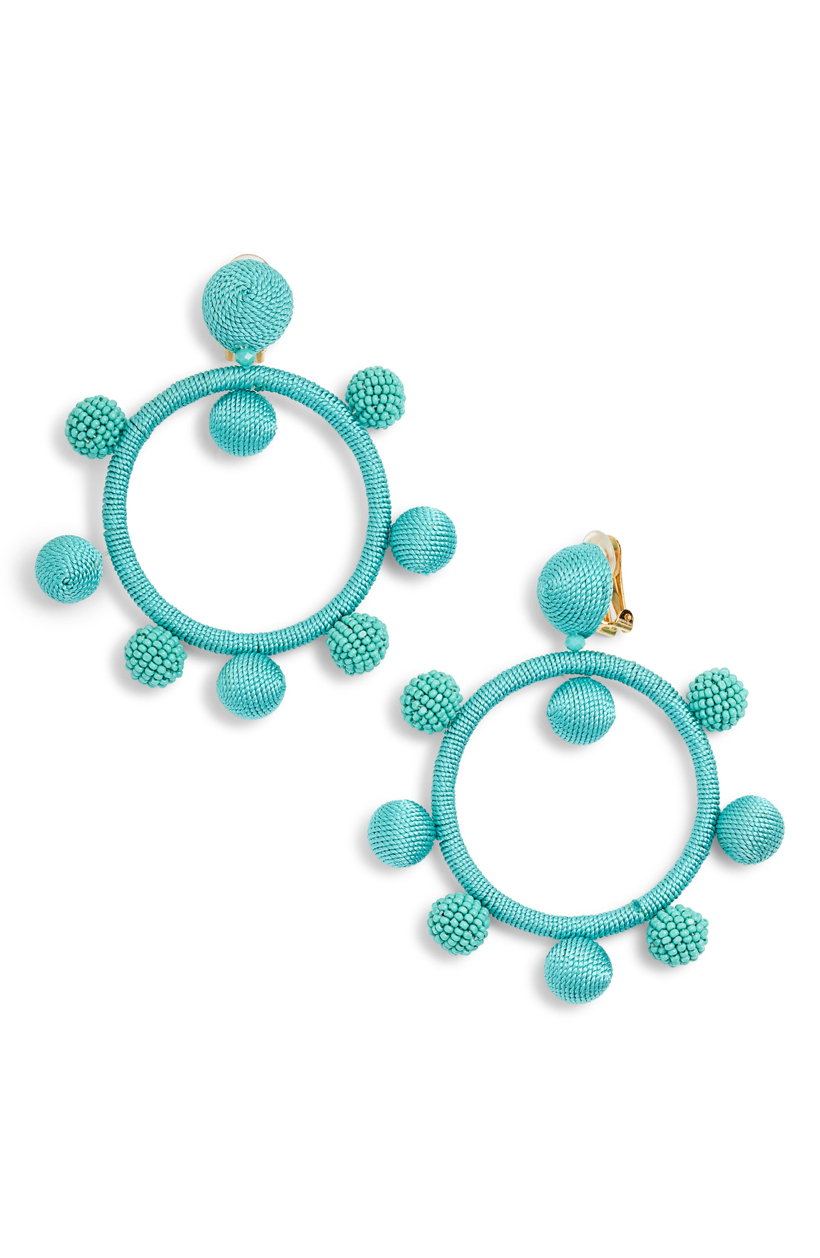 Oscar de la Renta Silken and Beaded Ball Hoop Earrings