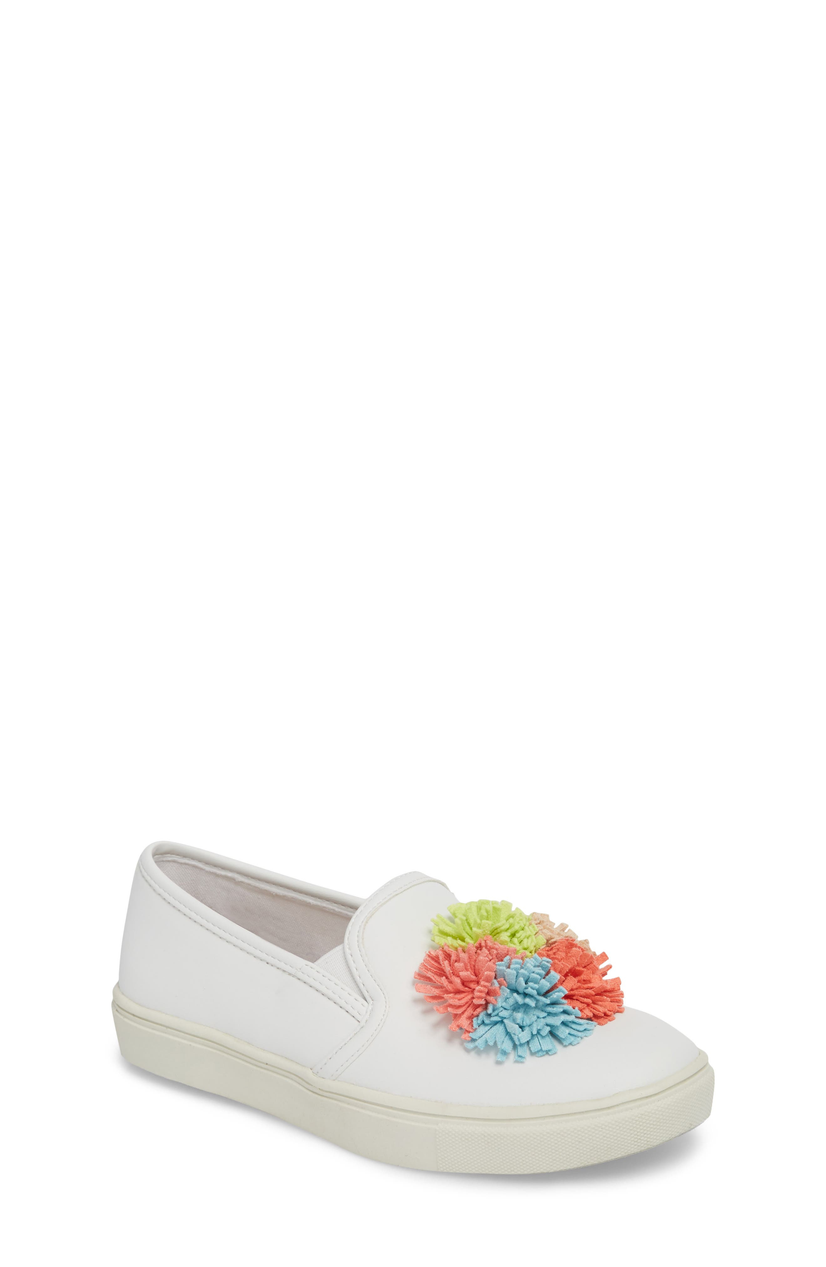 Twiny Pompom Slip-On Sneaker,                             Main thumbnail 1, color,                             White Faux Leather