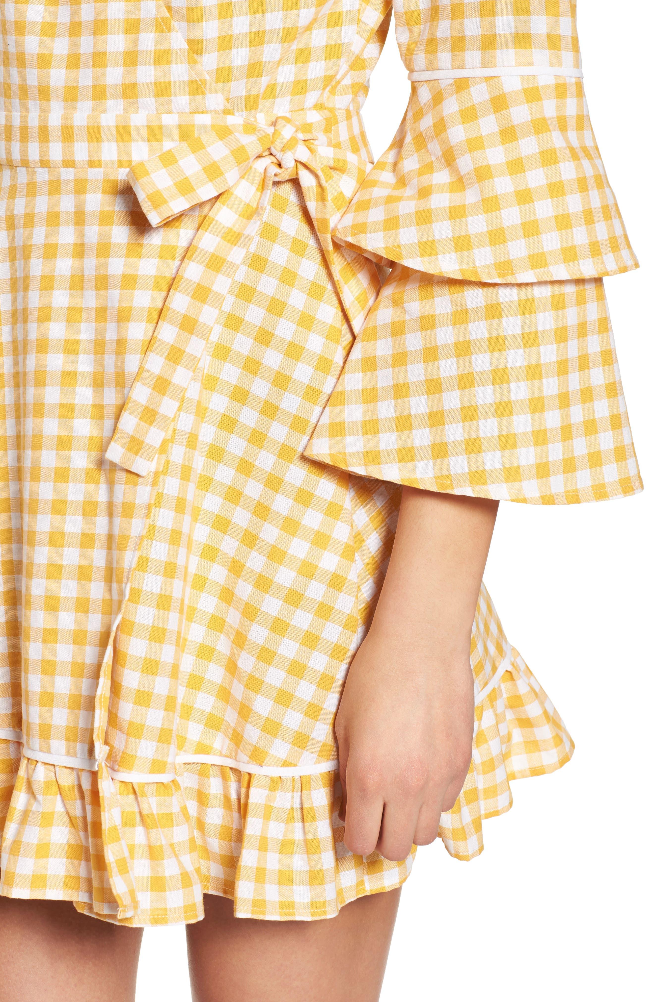 Idyllic Gingham Ruffle Dress,                             Alternate thumbnail 4, color,                             Buttercup