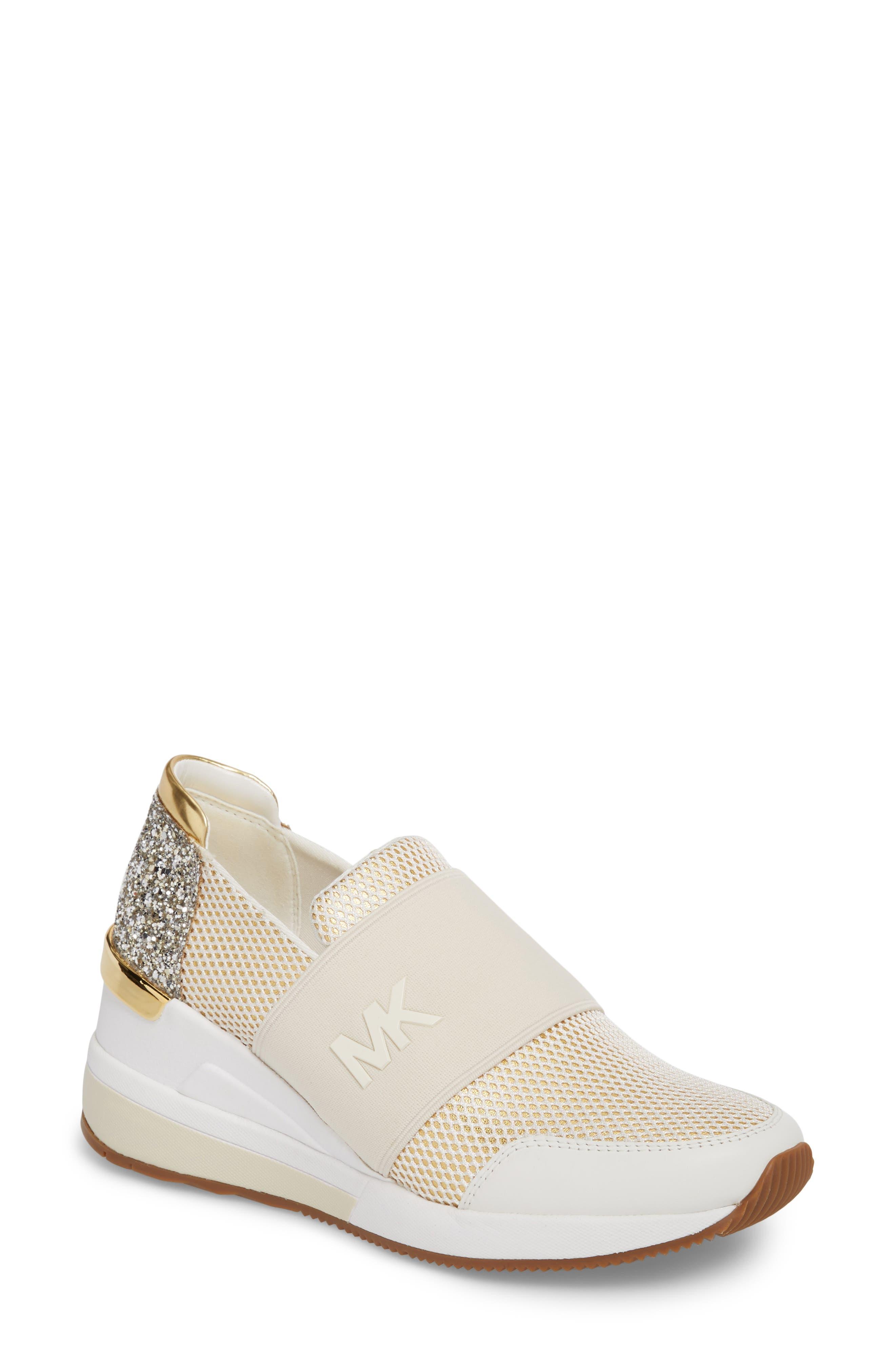 Felix Slip-On Glitter Sneaker,                             Main thumbnail 1, color,                             Gold