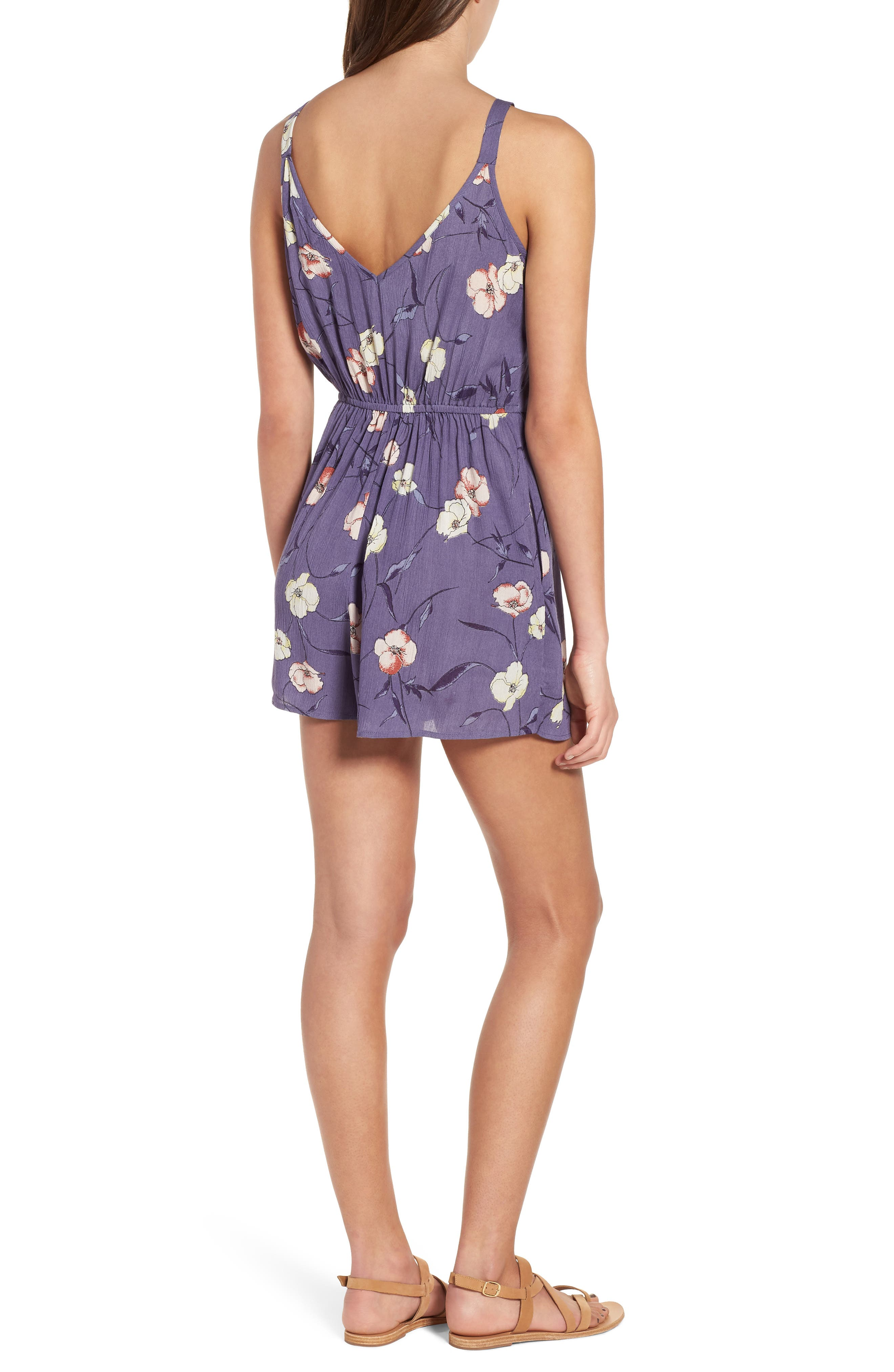 Floral Print Ruffle Front Romper,                             Alternate thumbnail 2, color,                             Indigo Blue