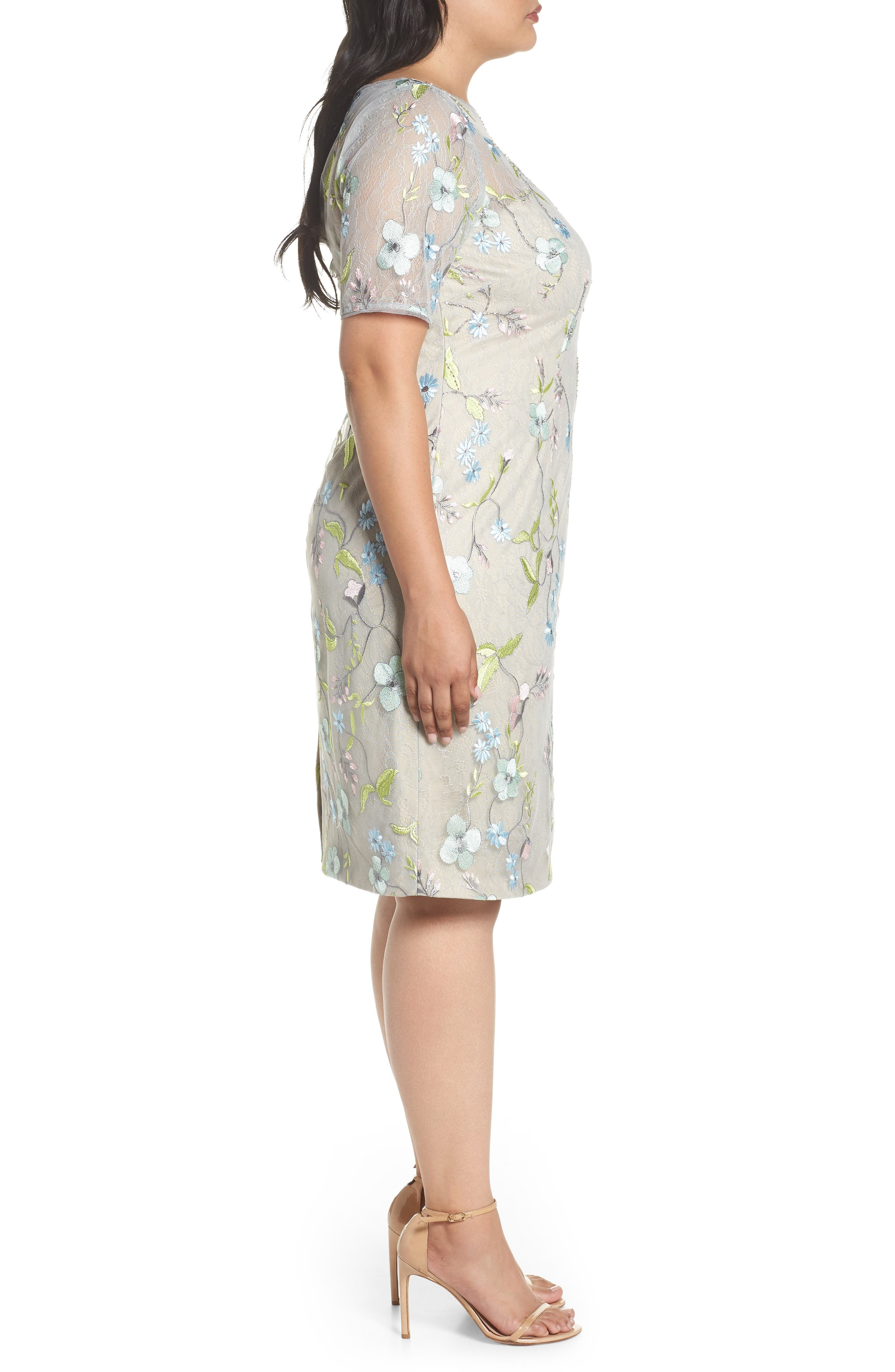 Embroidered Lace Sheath Dress,                             Alternate thumbnail 3, color,                             Lime Multi